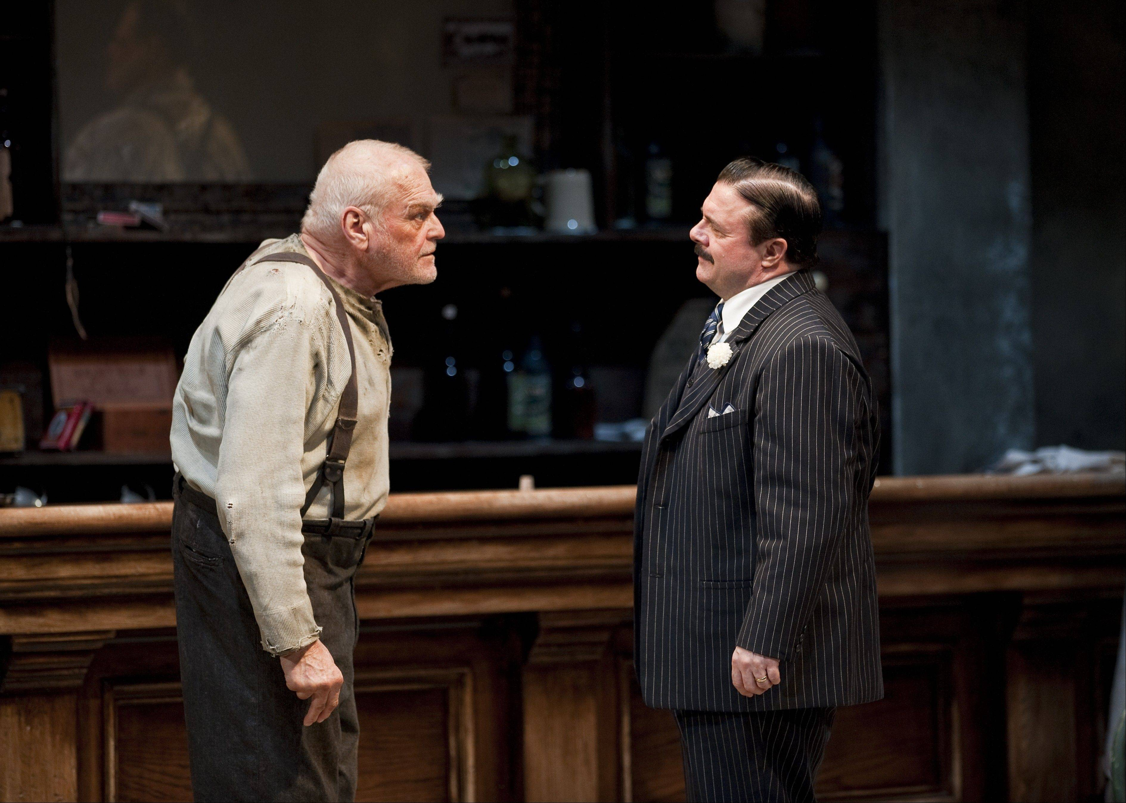 "Brian Dennehy played former anarchist Larry Slade opposite Nathan Lane's Theodore ""Hickey"" Hickman"" in Goodman Theatre's epic production of ""The Iceman Cometh."""