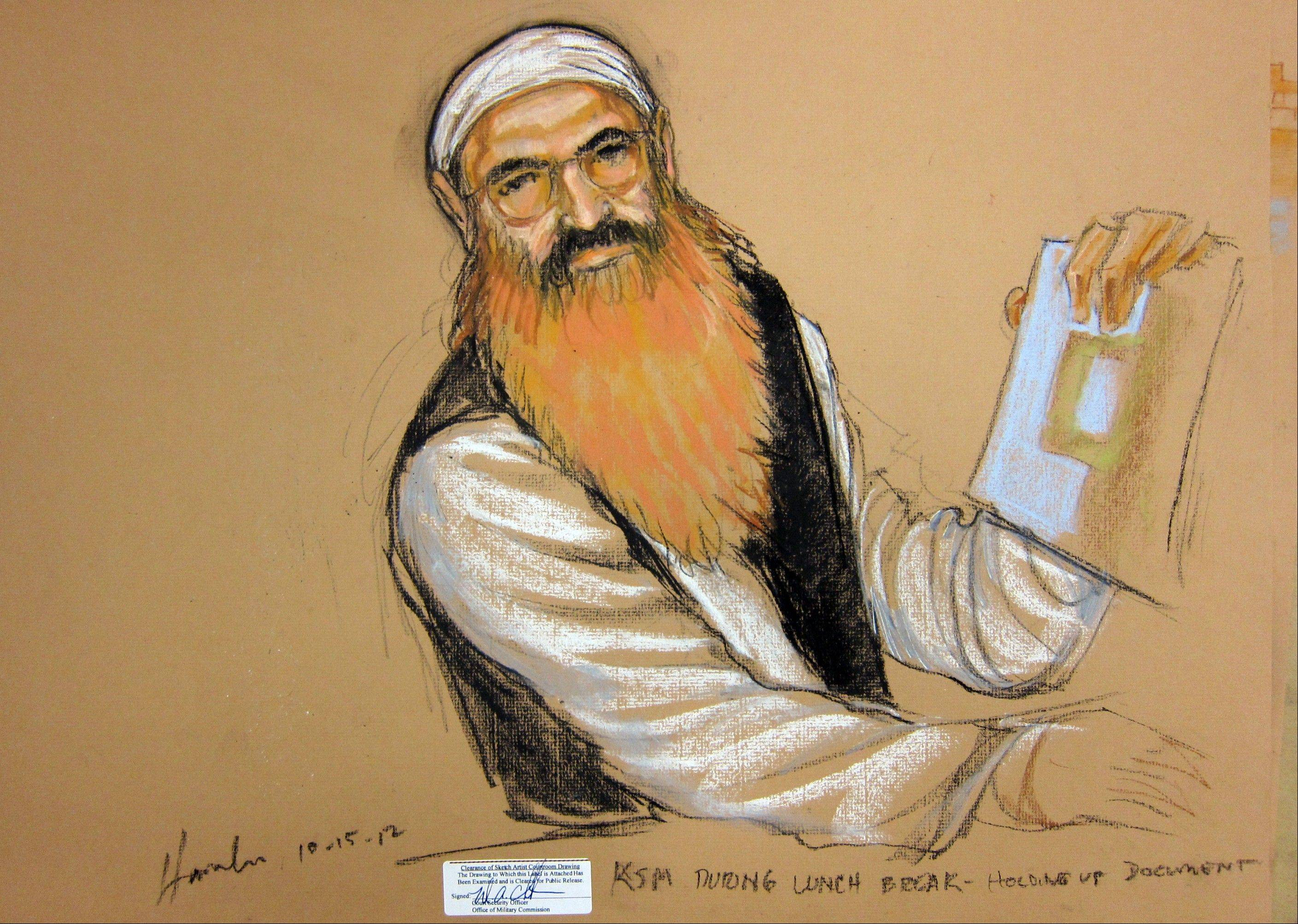 Khalid Sheikh Mohammed is seen in this courtroom sketch during a recess at his Military Commissions pretrial hearing in the Guantanamo Bay U.S. Naval Base in Cuba on Monday.