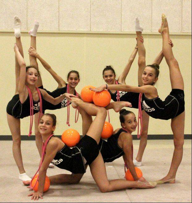 Nicole Sladkov, far right, a seventh-grader at Hawthorn Middle School South in Vernon Hills, was on the USA National Junior Rhythmic Gymnastics Team that recently won medals in the 2012 Pan American Championships in Cordoba, Argentina.