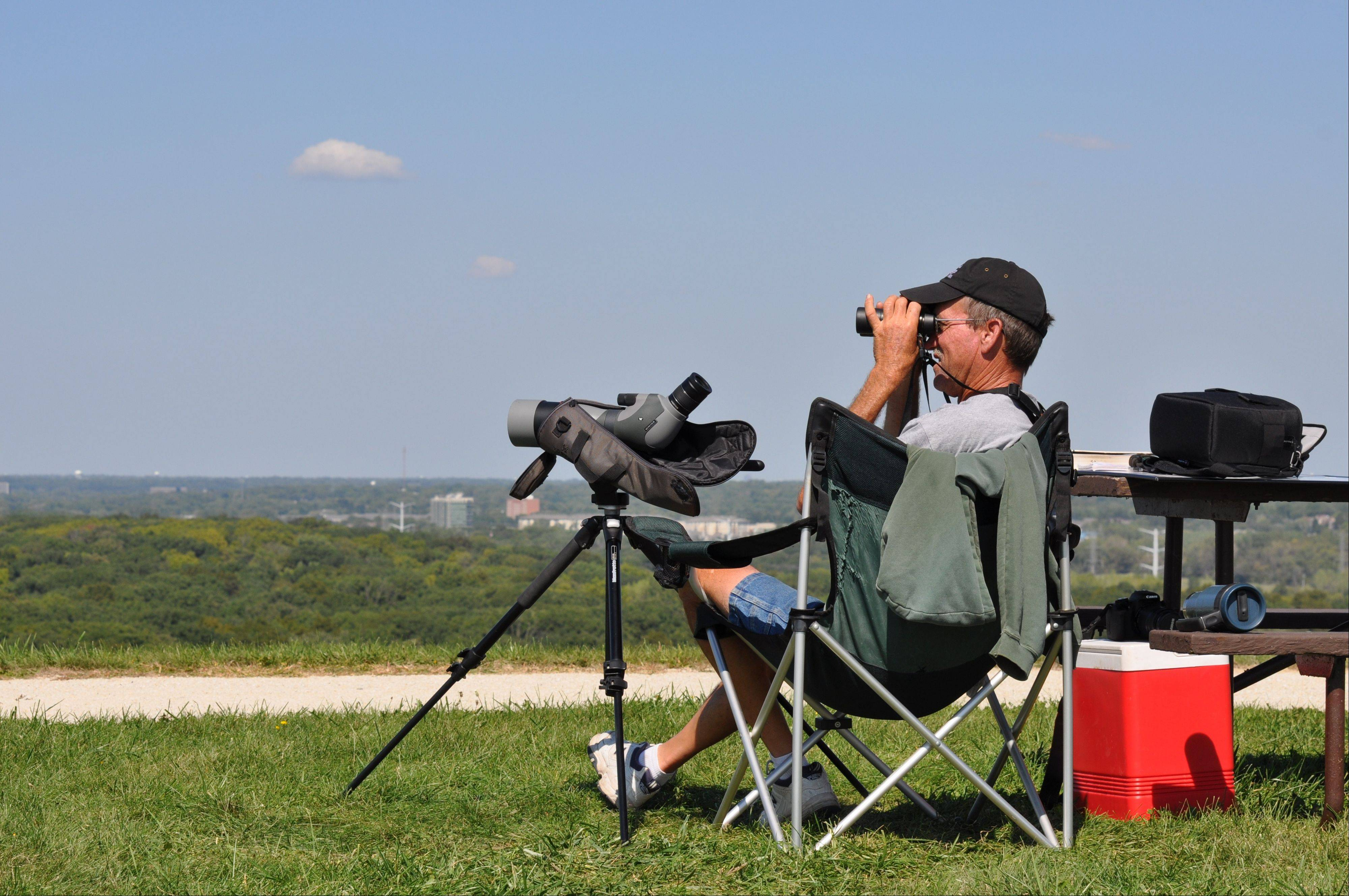 Every day through November, observers at Greene Valley Forest Preserve document the migrating hawks, eagles, falcons and vultures.