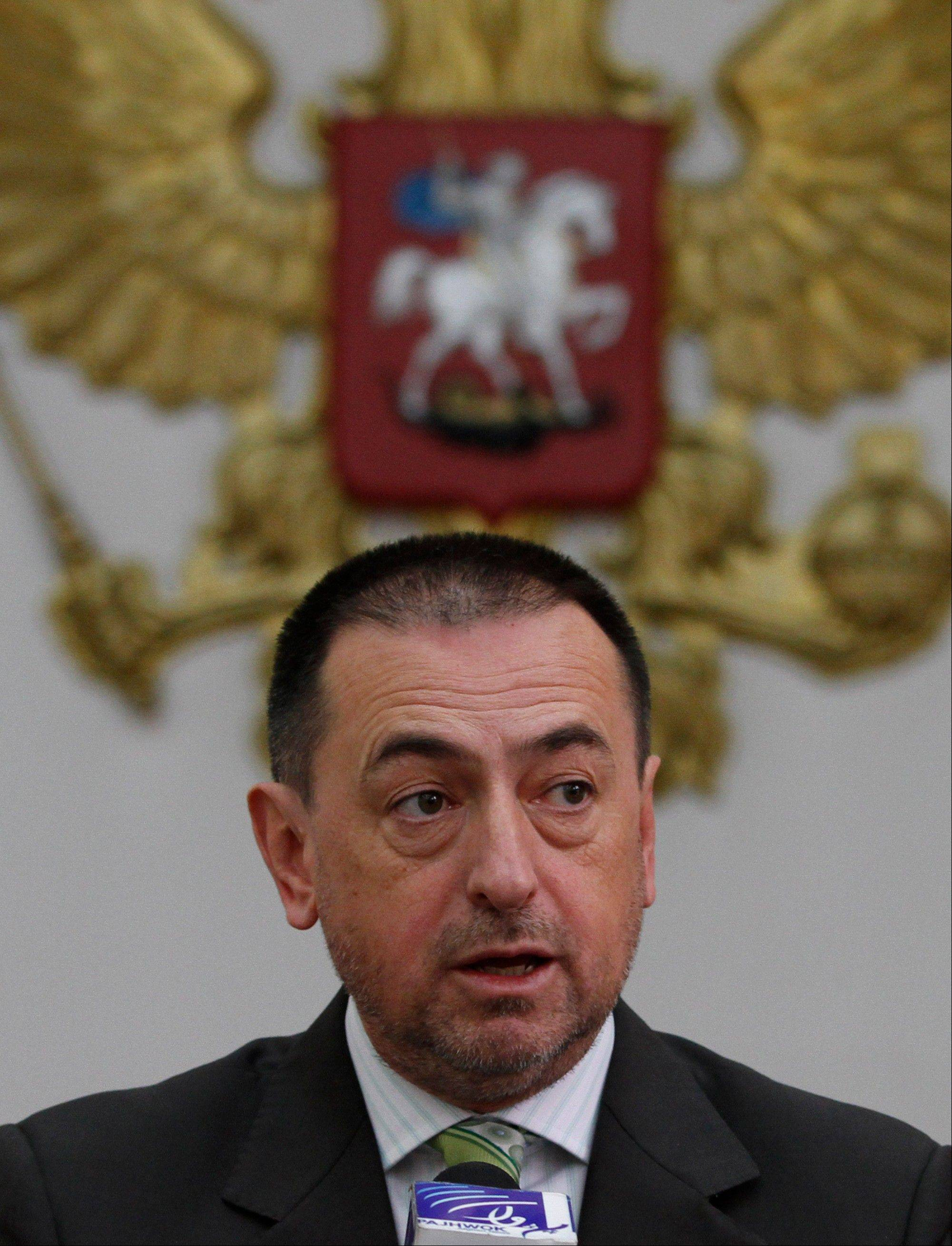 Russian ambassador Andrey Avetisyan announces that Russia is appealing to the Afghan authorities to provide information on 200 Soviet troops listed as missing since Soviet forces ended their occupation of Afghanistan in 1989 during a press conference at the Russian embassy in Kabul, Afghanistan, Monday.