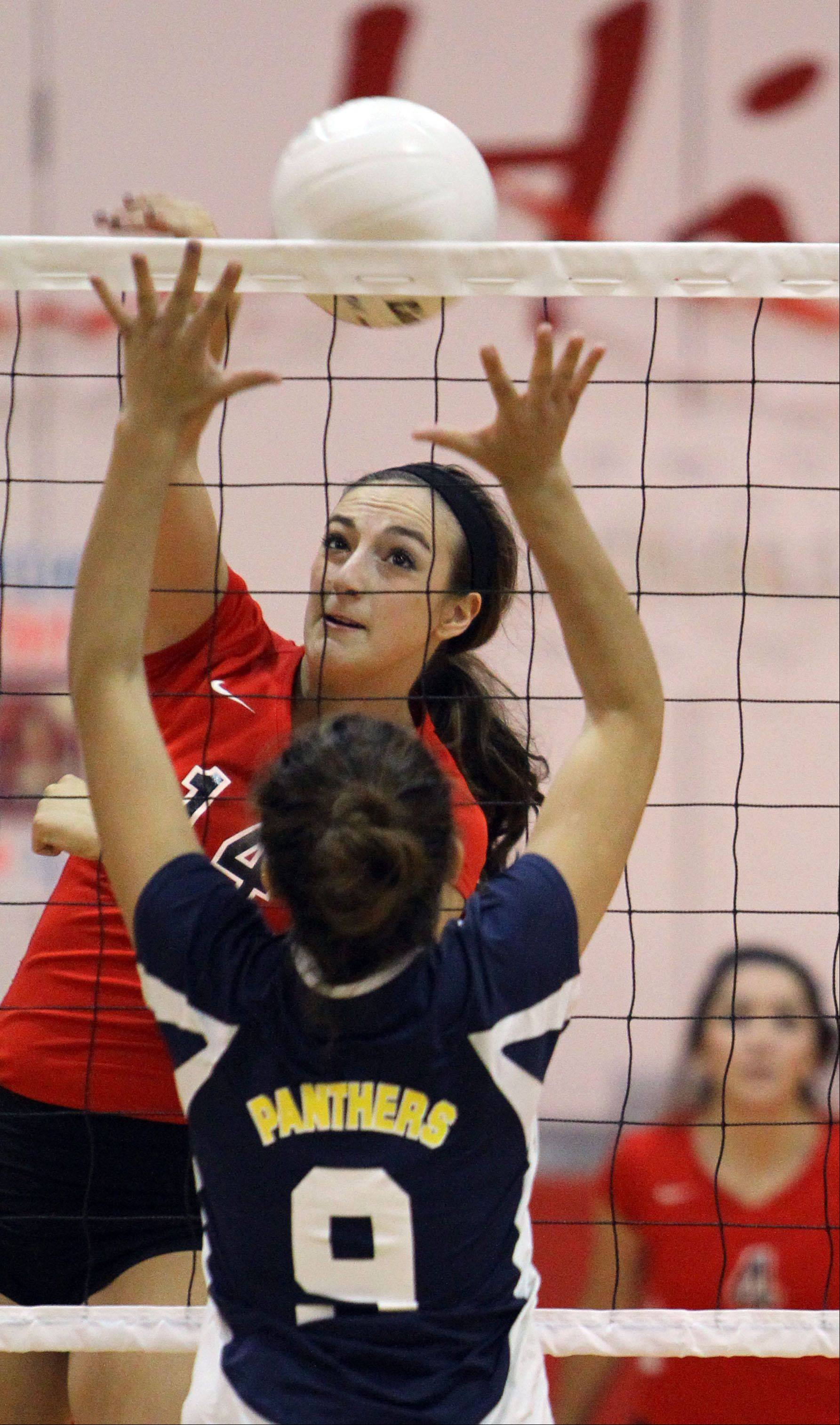 Ashley Dolin goes on the attack opposite Round Lake's Melissa Mejia on Monday at Mundelein.