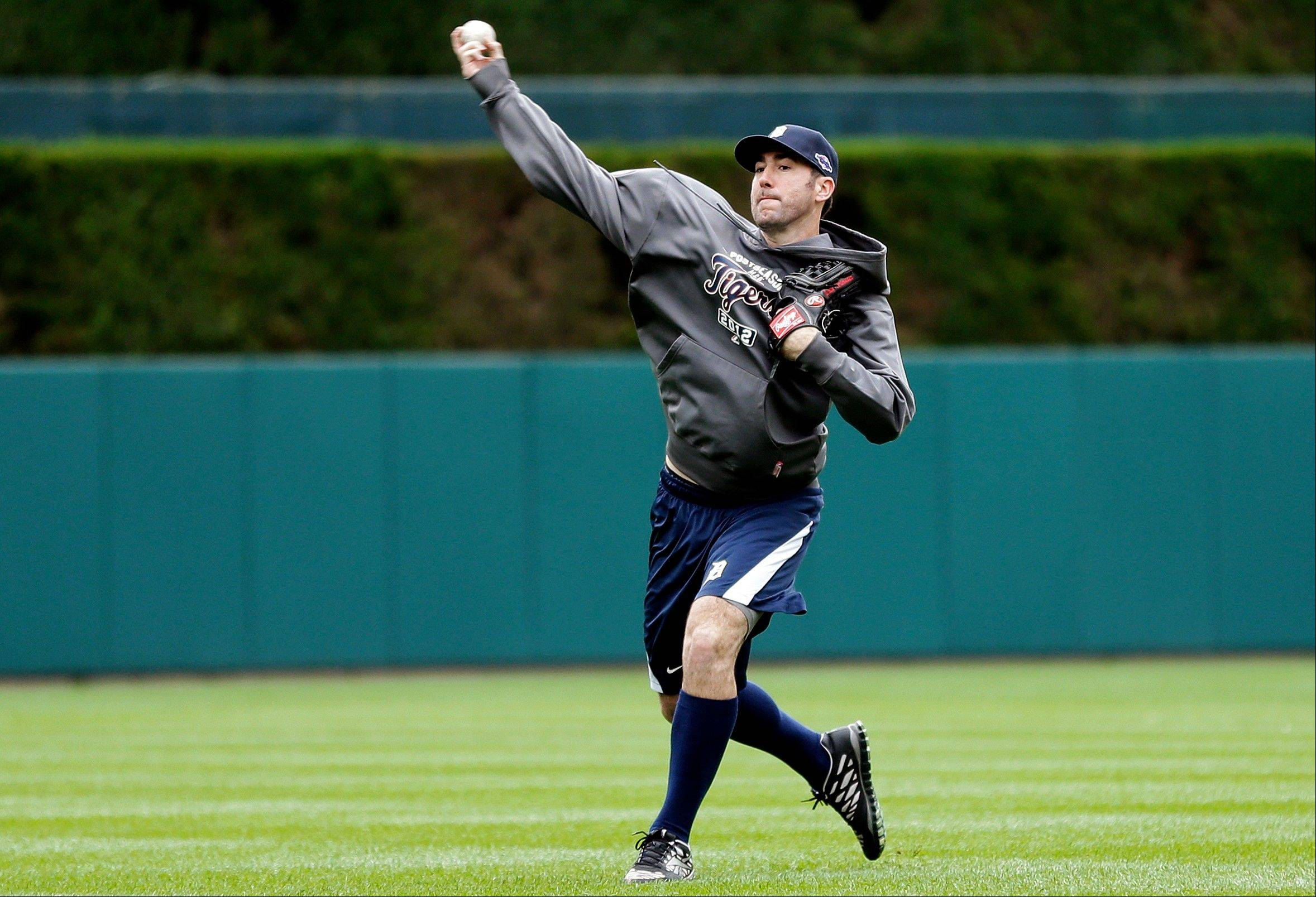 Detroit Tigers pitcher Justin Verlander throws Monday at Comerica Park in Detroit to prepare for his start against the New York Yankees in Game 3 of the American League championship series Tuesday. Detroit leads the series 2-0.