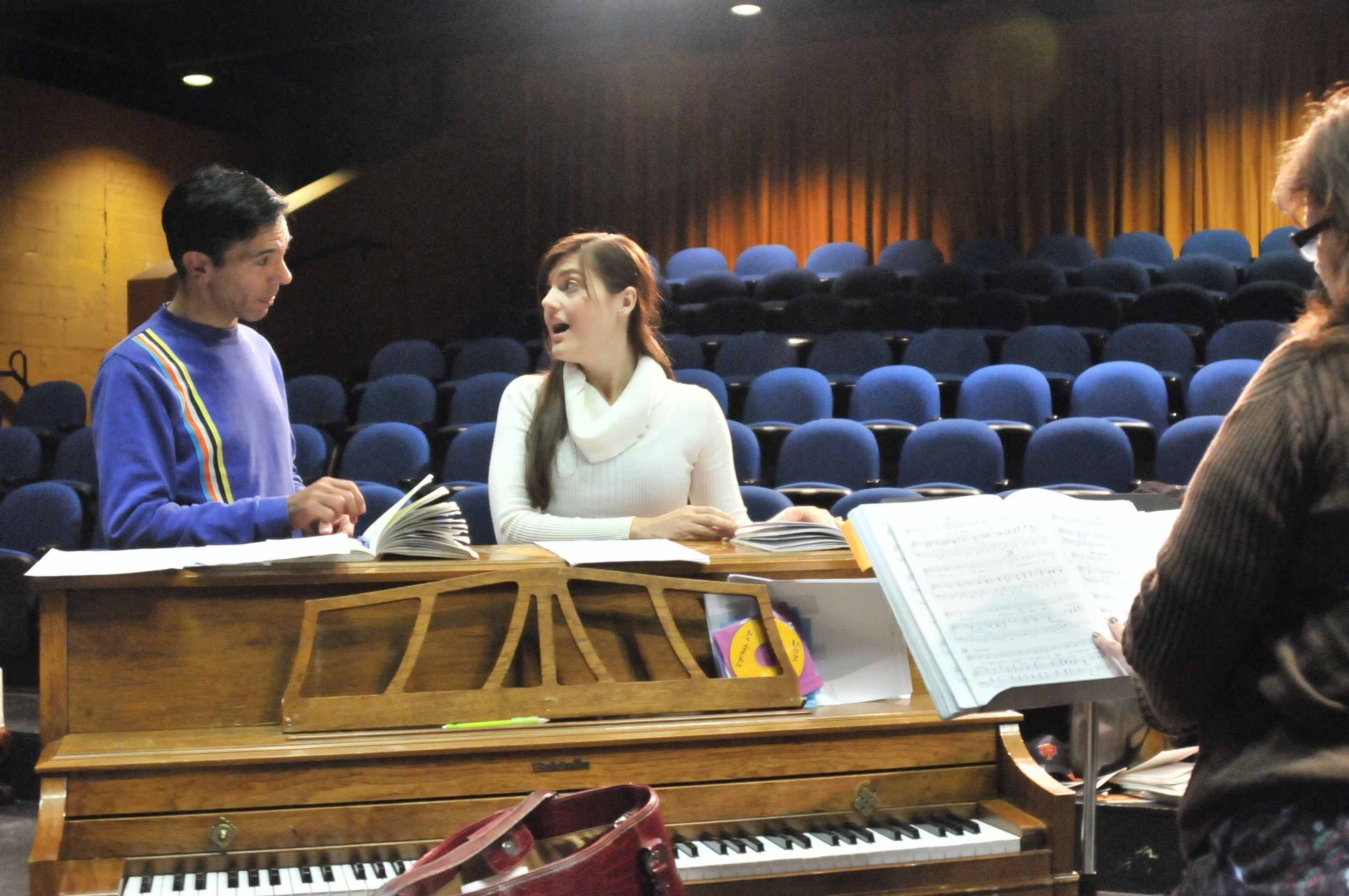 "James Edward Dauphin (Capt. von Trapp) and Rachelle Kates (Maria) rehearse with music director Joni Kotche for Wheaton Drama's production of ""The Sound of Music""."