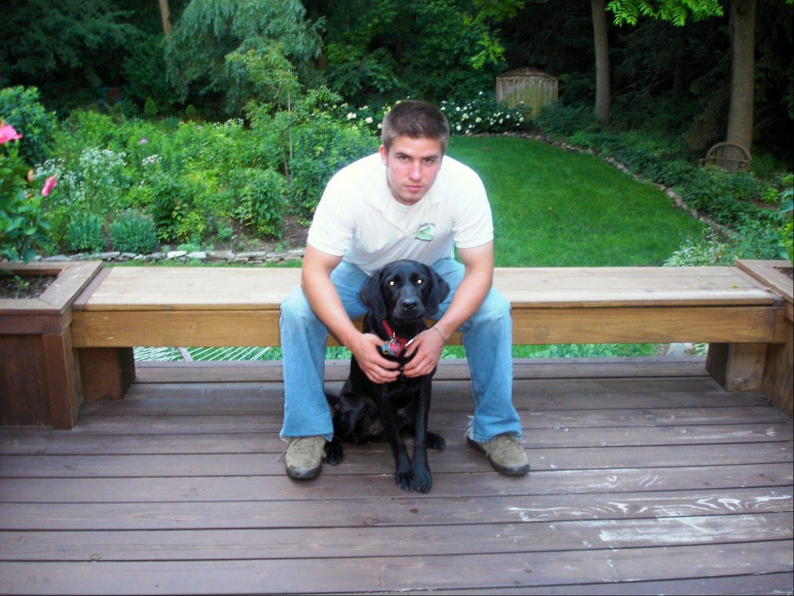 Paul Schmidt with his seizure response dog, Sara