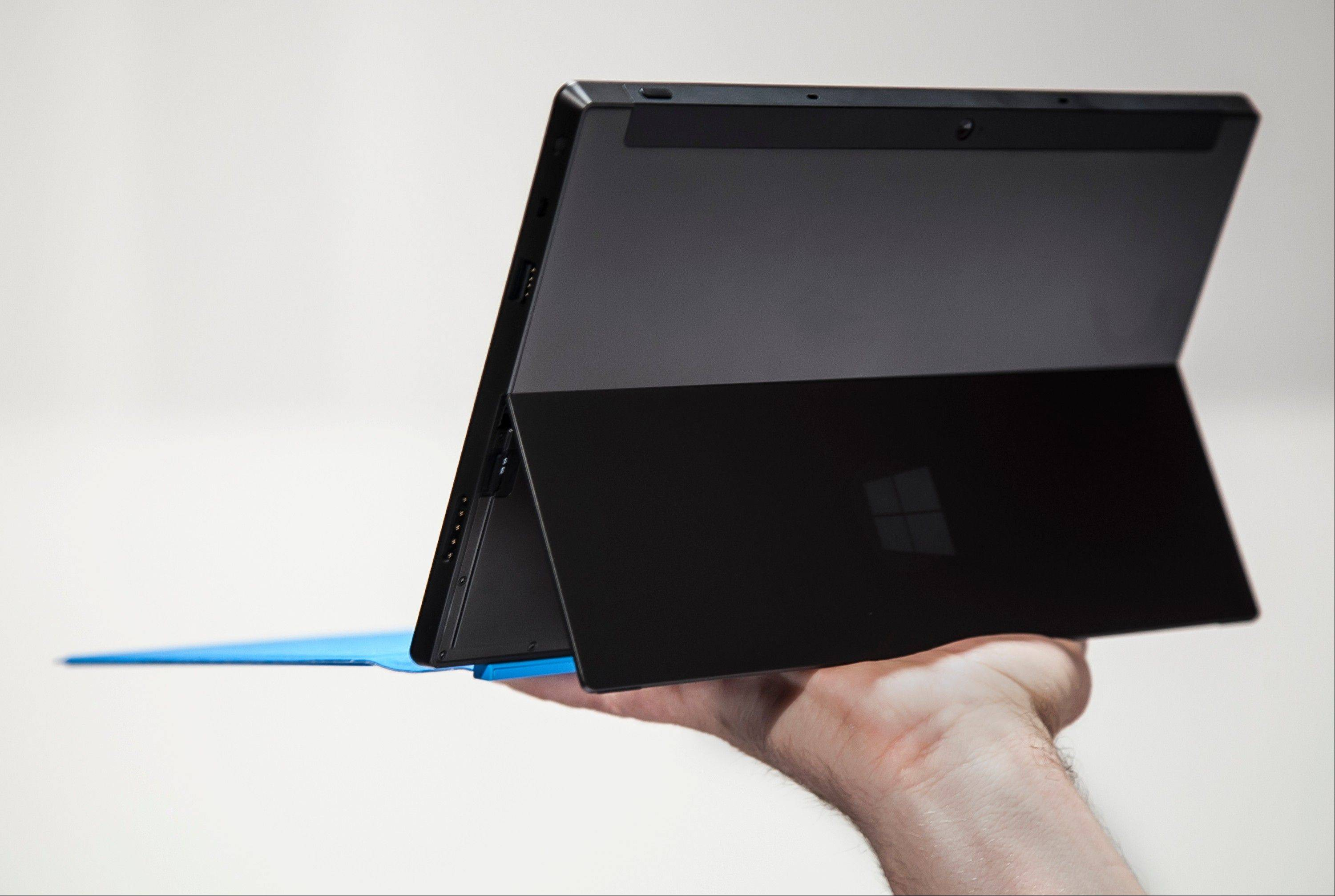 Microsoft Corp.�s new Surface tablet computer is displayed at Hollywood�s Milk Studios in Los Angeles on June 18. Microsoft�s first tablet computer, the Surface, will start at $499 when it goes on sale Oct. 26.