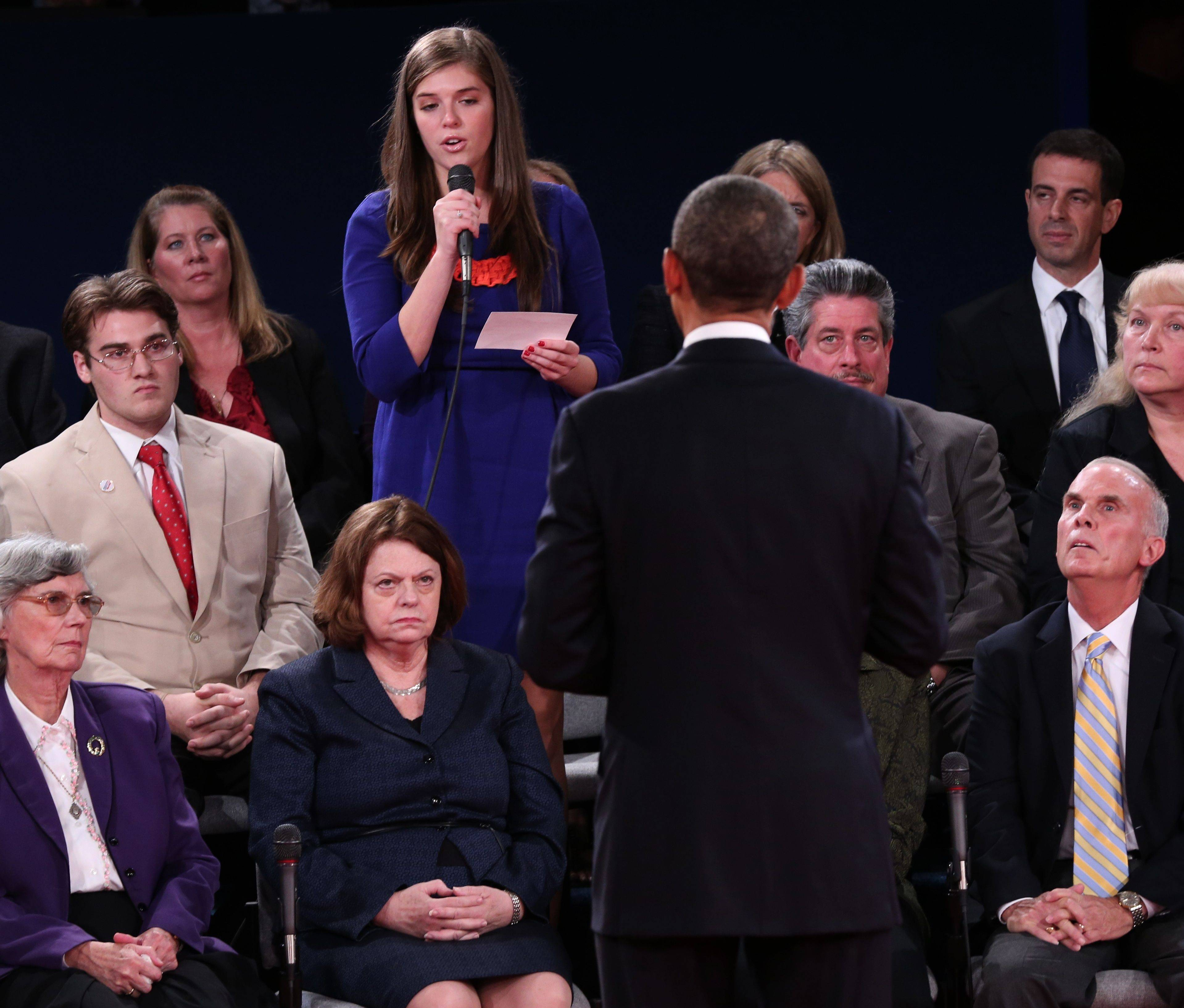 A member of the audience asks President Barack Obama a question during the second presidential debate with Republican presidential nominee Mitt Romney on Tuesday.