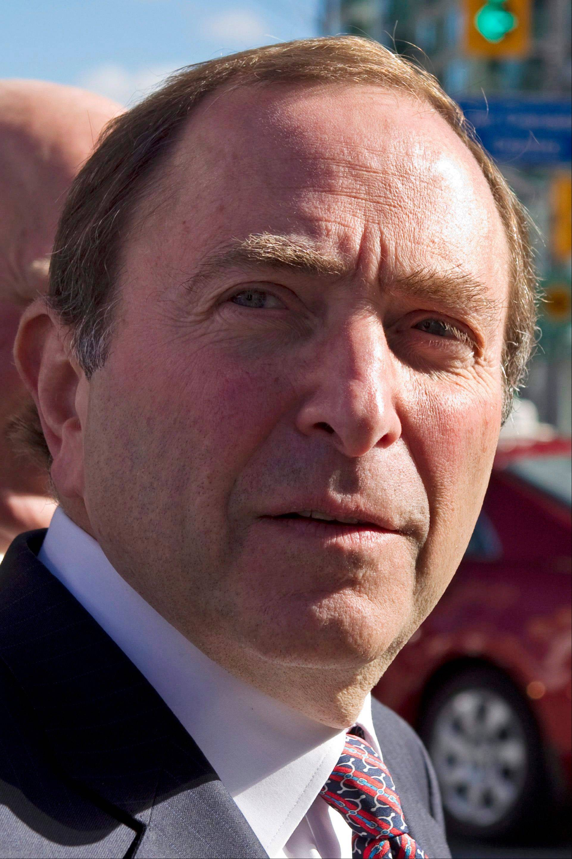 NHL Commissioner Gary Bettman arrives as the NHL and its locked-out player resumed negotiations in Toronto on Tuesday.