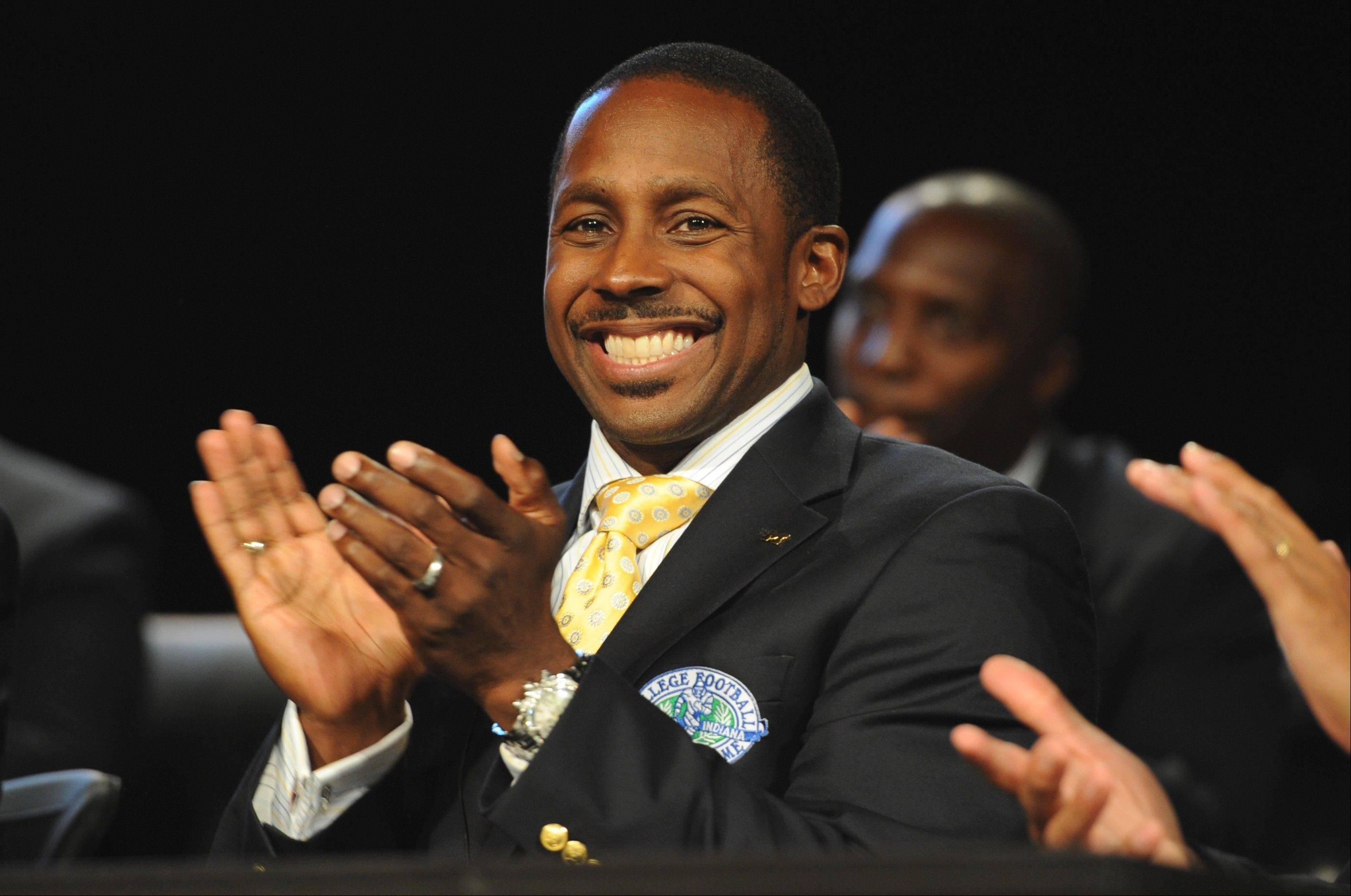 "A radio show host for an ESPN show in Ohio was suspended for a tweet about ESPN Game Day broadcaster Desmond Howard, above, that ""crossed the line,"" according to a colleague."
