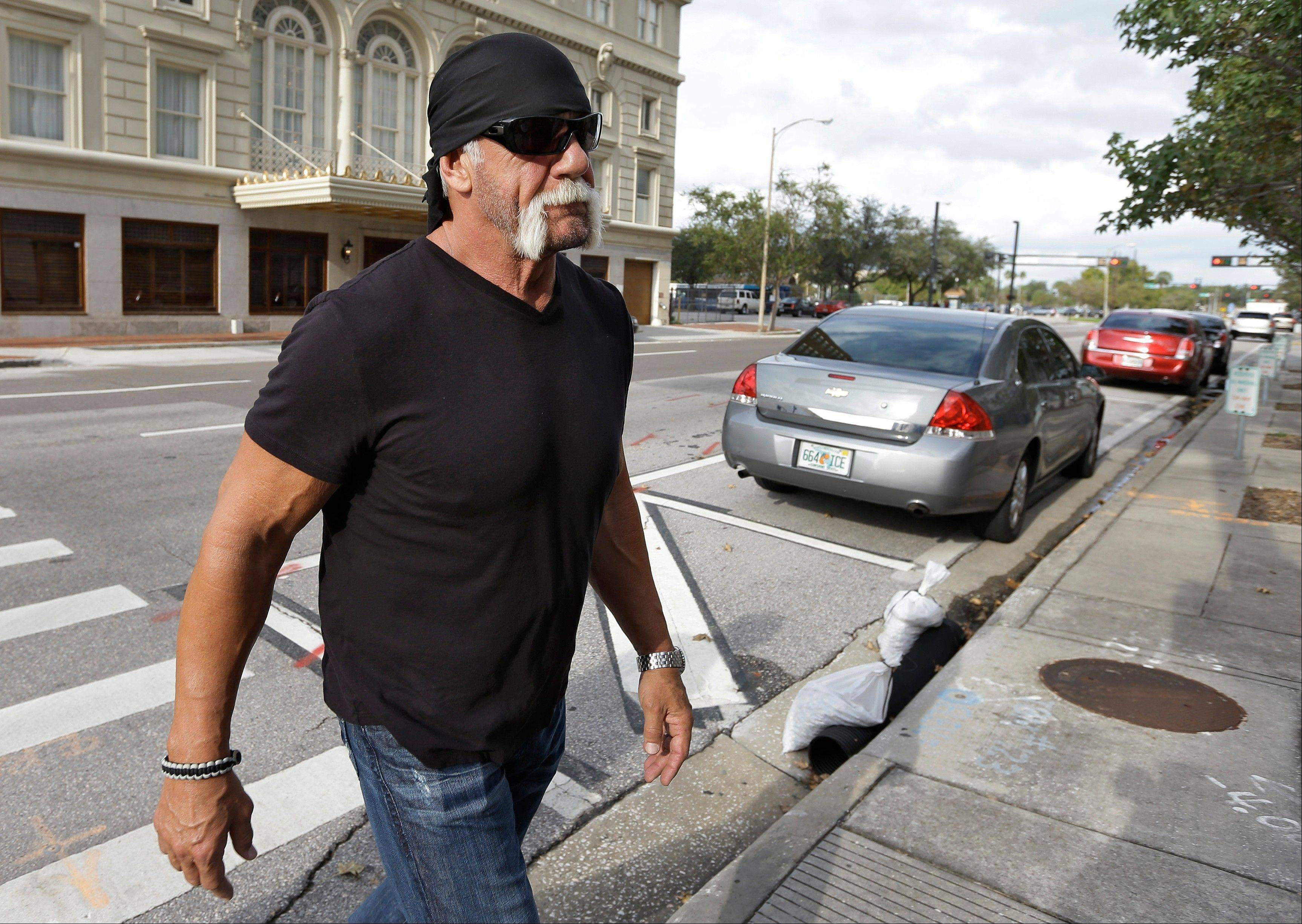 Reality TV star and former pro wrestler Hulk Hogan, whose real name is Terry Bollea, arrives at the U.S. Courthouse for a news conference Monday in Tampa, Fla. Hogan says he was secretly taped six years ago having sex with the ex-wife of a friend. Portions of the video were posted on the online gossip site Gawker.