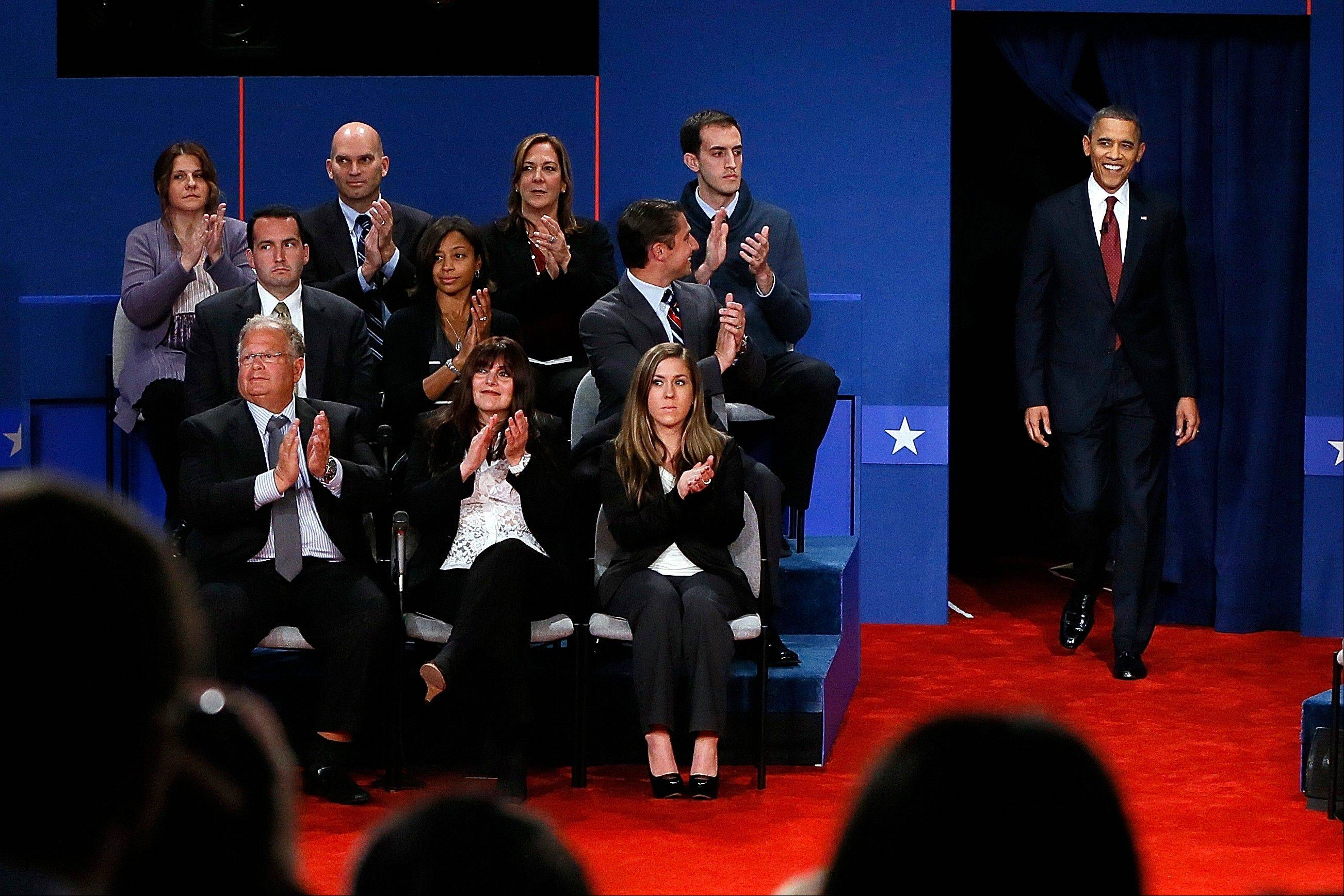 President Barack Obama steps on to the stage during the second presidential debate at Hofstra University, Tuesday, Oct. 16, 2012, in Hempstead, N.Y.