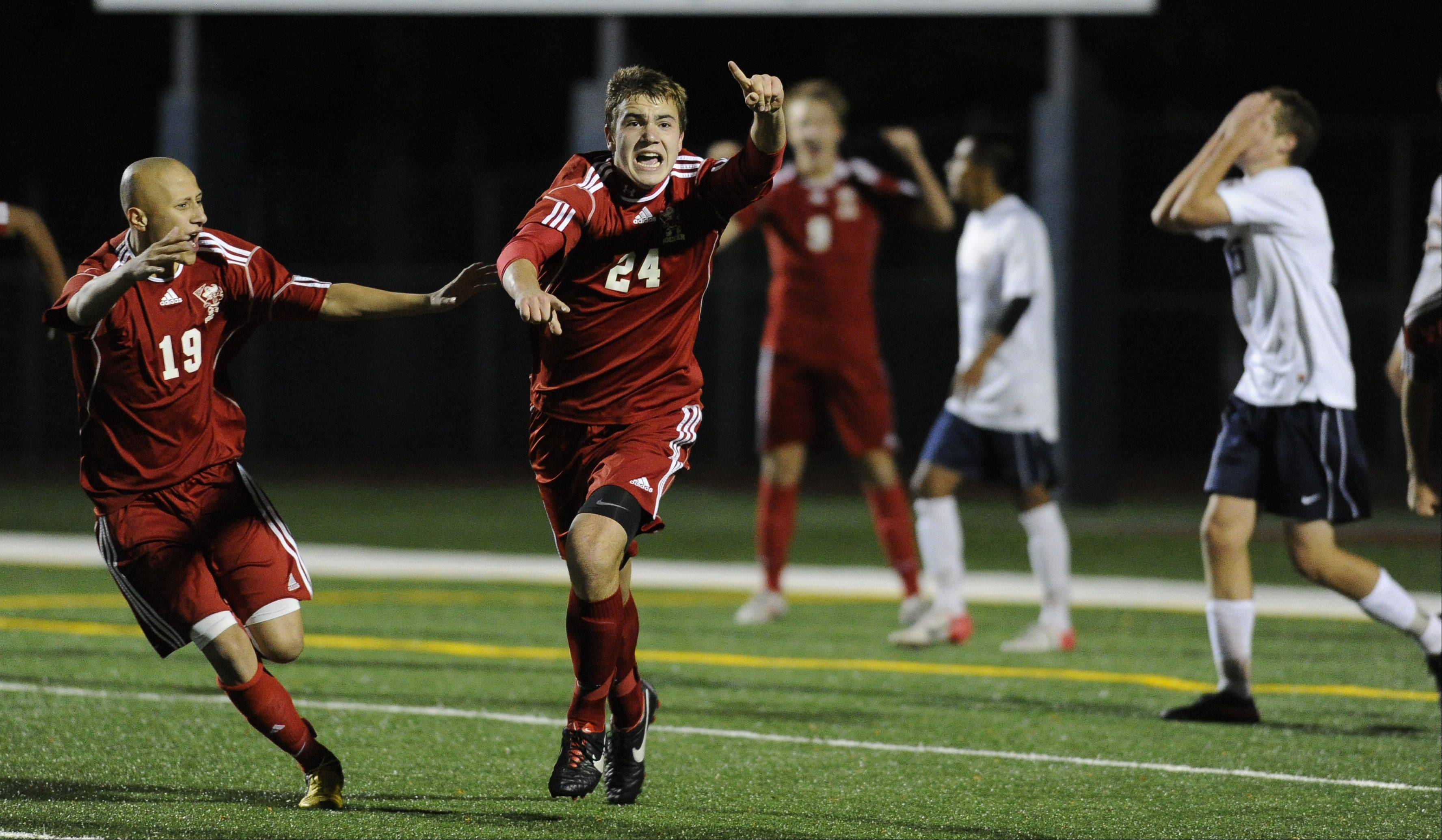 Palatine's Jeremy Velinski celebrates a goal in the Mid-Suburban League championship game at Buffalo Grove High School on Thursday.