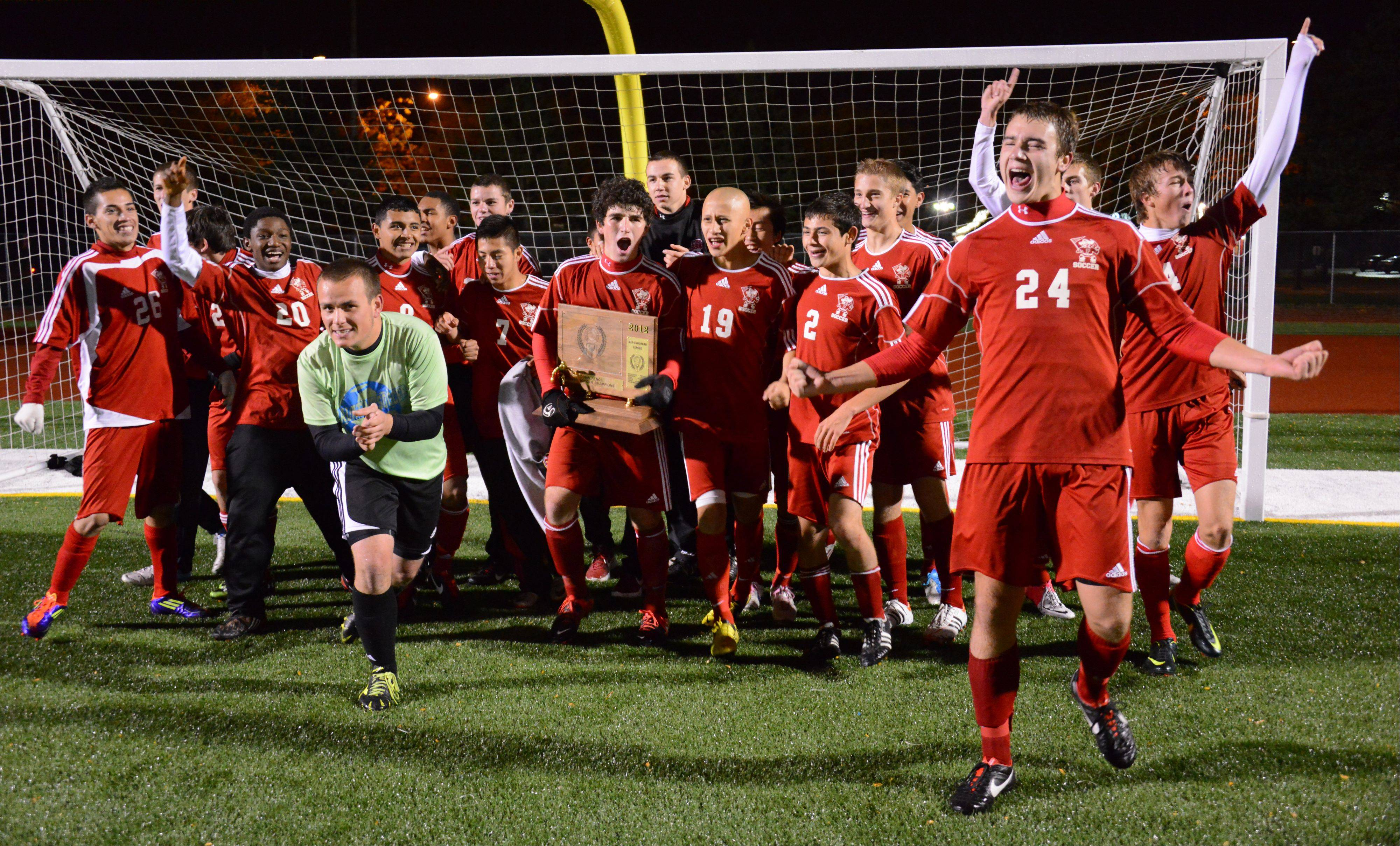 Palatine's Jeremy Velinski and his teammates erupt in excitement after winning the Mid-Suburban League championship soccer game at Buffalo Grove High School on Thursday.