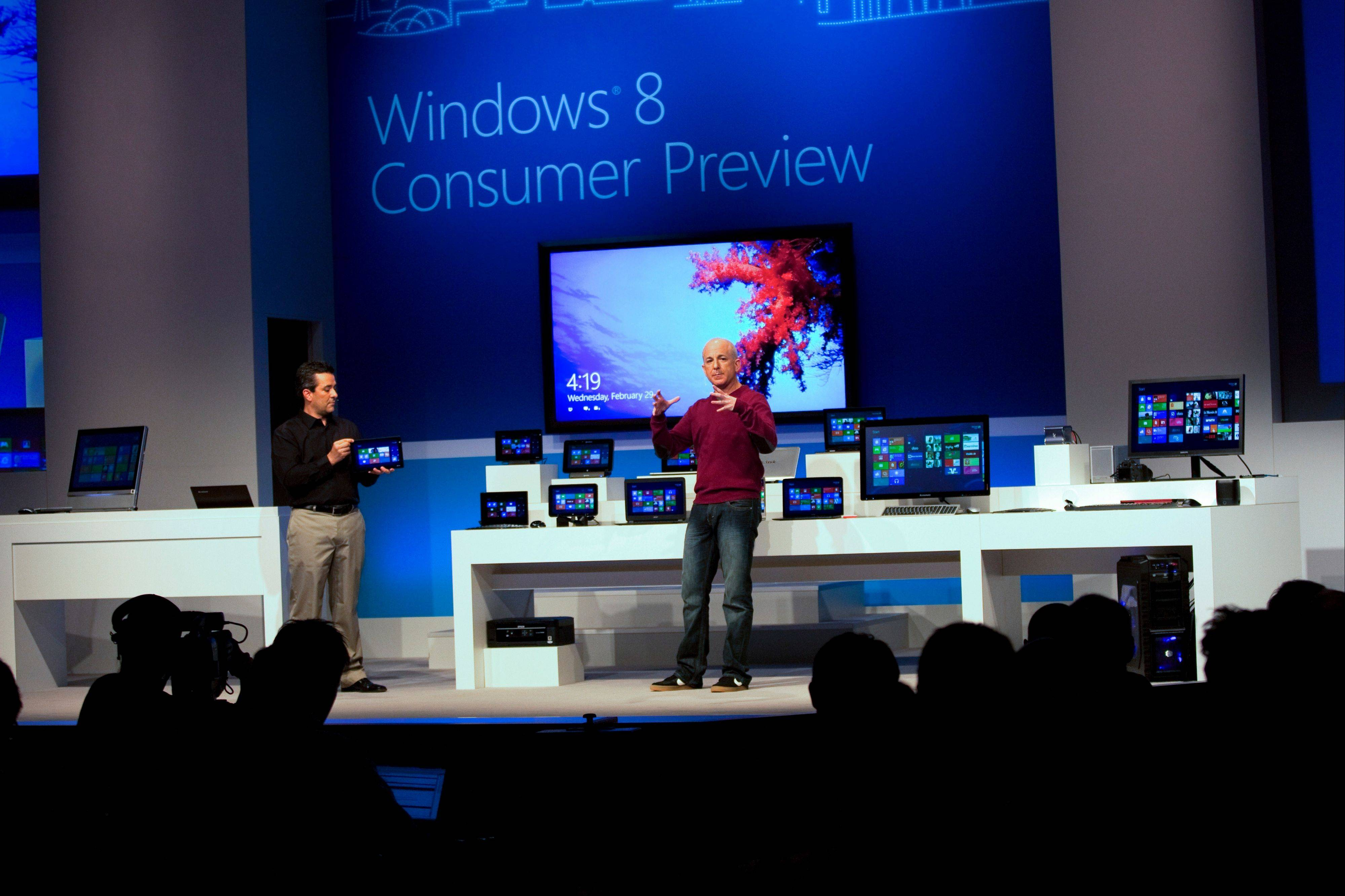 Steven Sinofsky, president of Windows and Windows Live, attends the Windows 8 Consumer Preview presentation at the Mobile World Congress in Barcelona, Spain, last February.