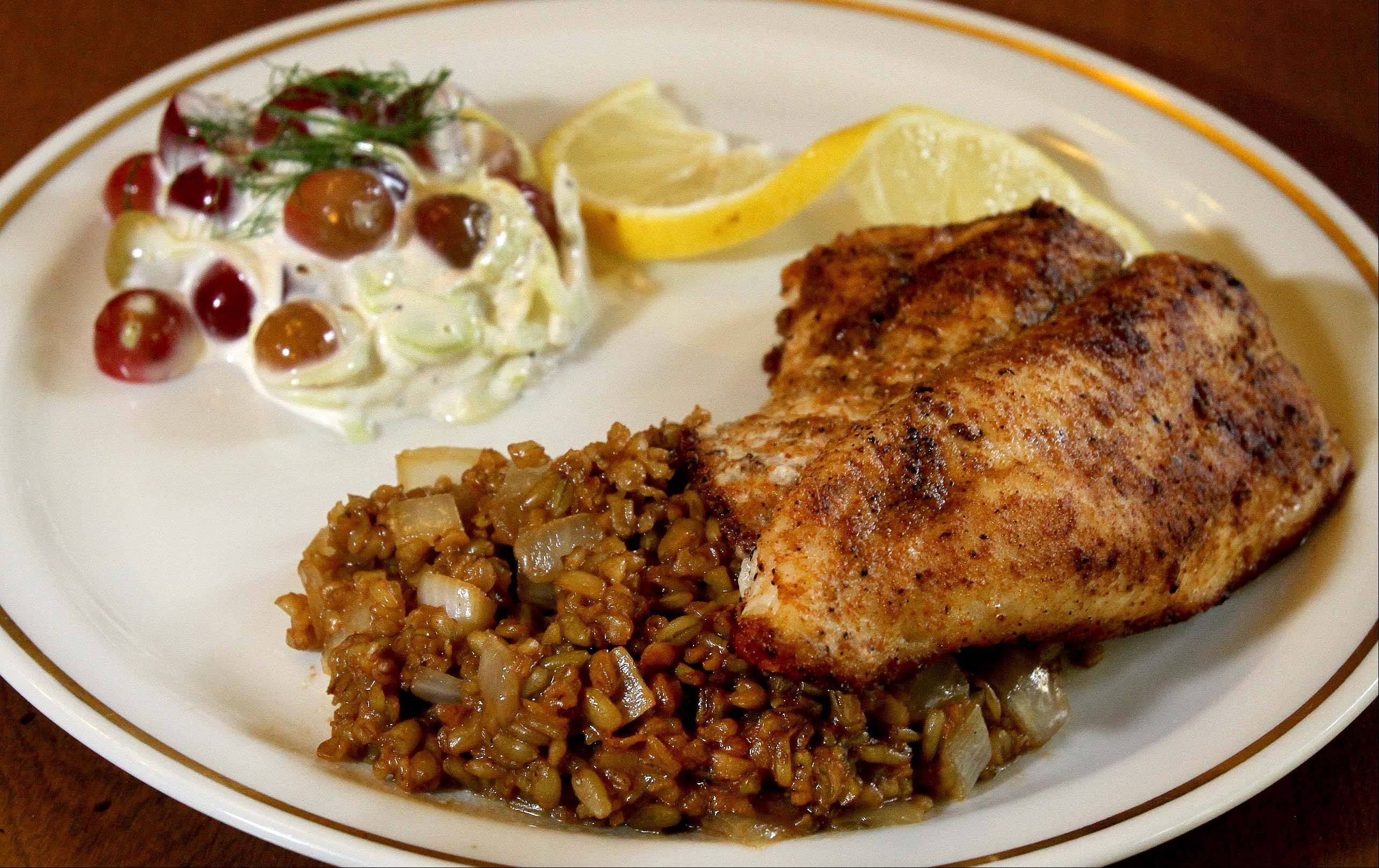 Blackened Catfish With Asian Cajun Dirty Freekeh And A Fennel-Grape Salad