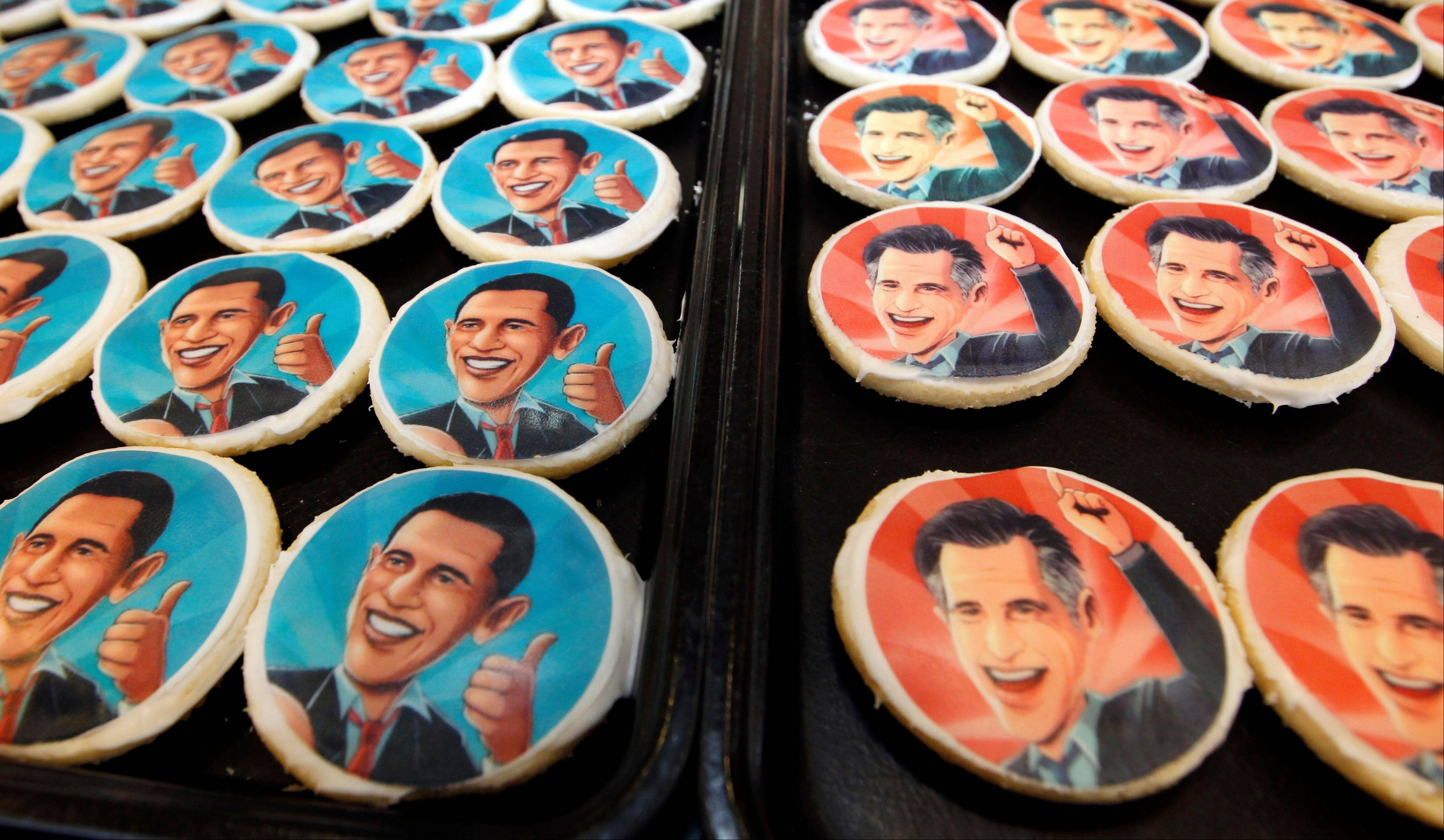 The presidential debate the night before may not have been sugar-coated, but these platters of cookies � bearing the likenesses of President Barack Obama, left, and Republican presidential candidate Mitt Romney at a bakery in Oakmont, Pa., Wednesday � were.