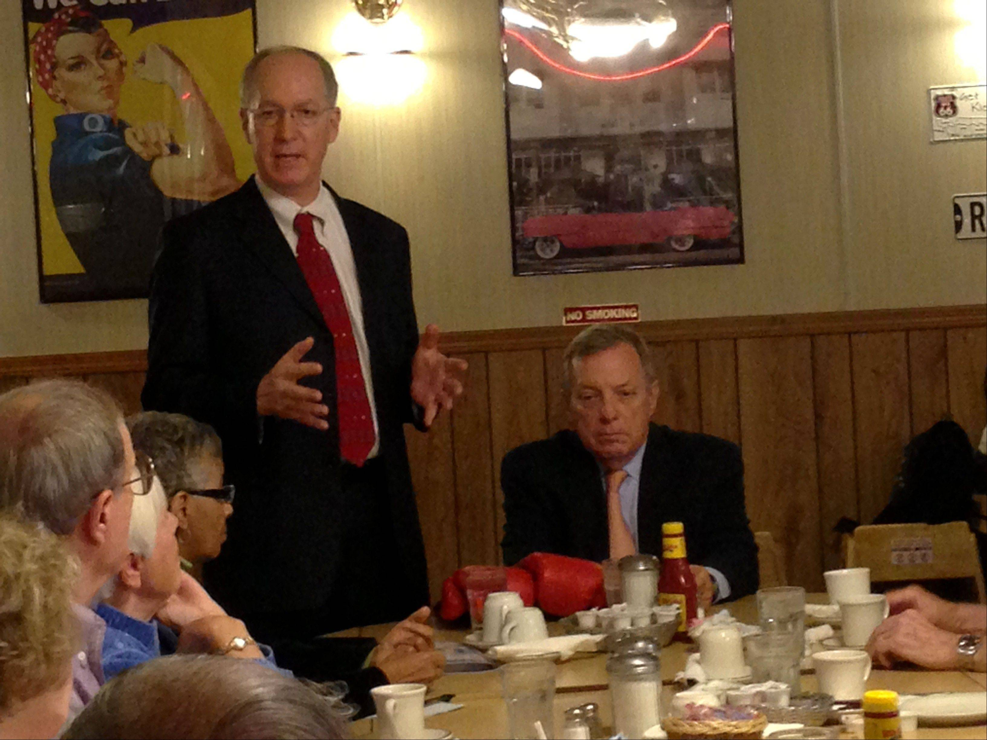 Bill Foster, left, and Sen. Dick Durbin met with senior citizens in Joliet Friday to discuss the future of Medicare and Social Security.