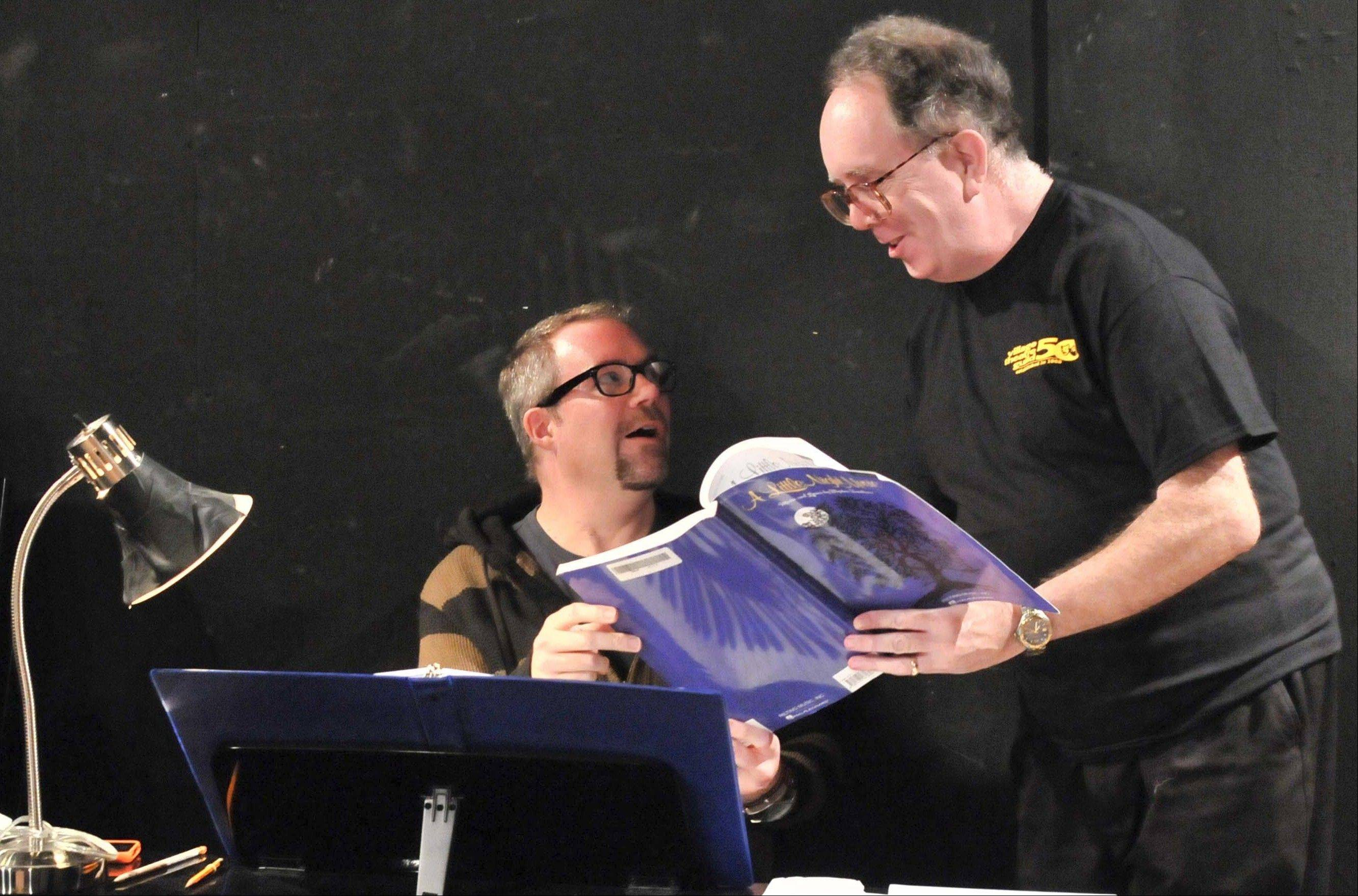 Music Director Doug Orlyk, left, and Director Craig Gustafson collaborate on the interpretation of some of Sondheim�s passages in �A Little Night Music� at the Village Theatre Guild, opening Friday, Oct. 19.