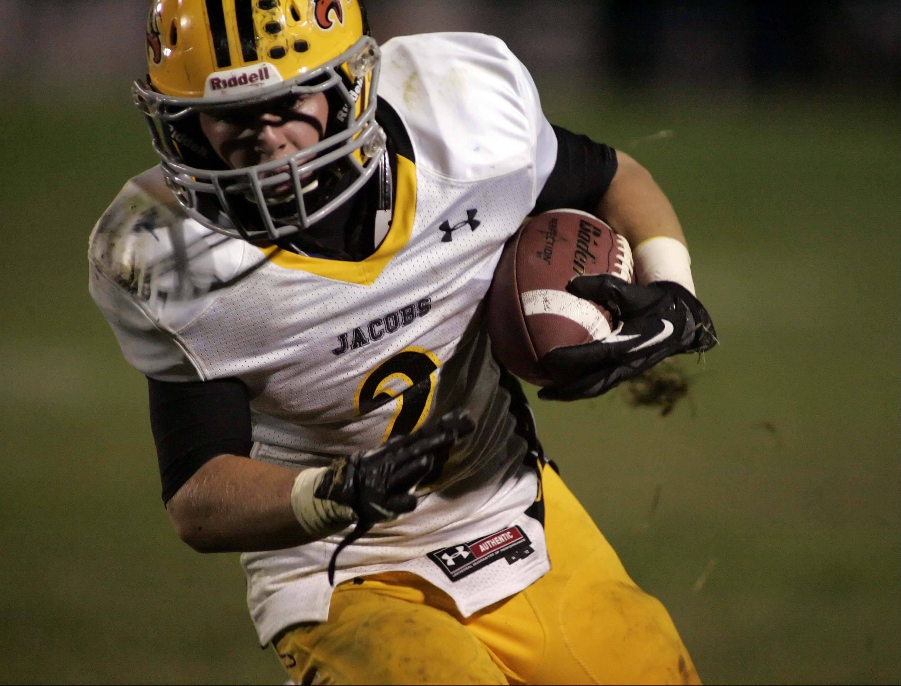 Jacobs� Greg Sidor (2) runs for yardage earlier this season. The Golden Eagles have a playoff berth on the line Friday night when they visit Dundee-Crown.