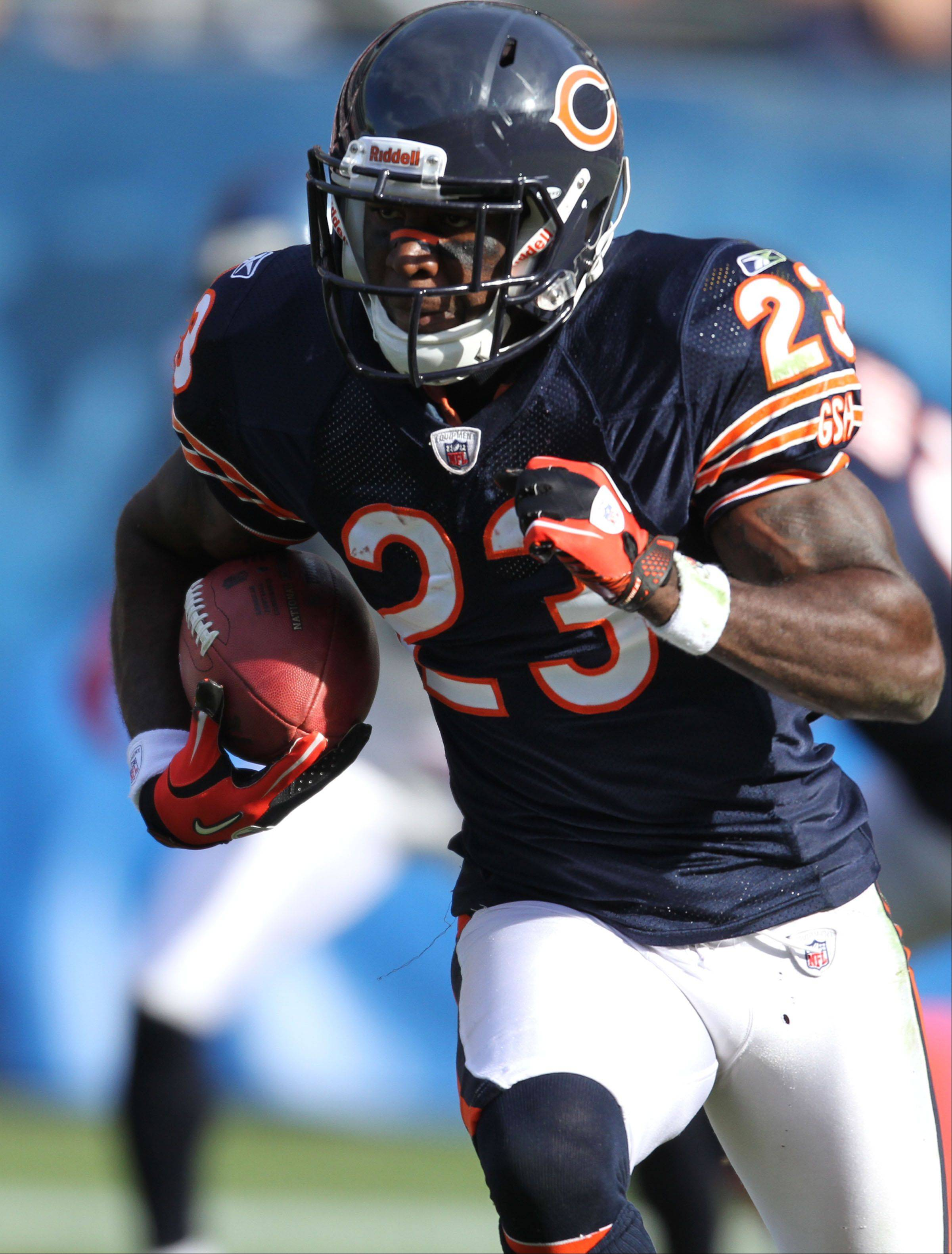 George LeClaire/gleclarie@dailyherald.com � Chicago Bears' wide receiver Devin Hester returns a punt here for a touchdown late in the second half against Seattle Seahawks 23-20 at Soldier Field in Chicago on Sunday, October 17. � � �