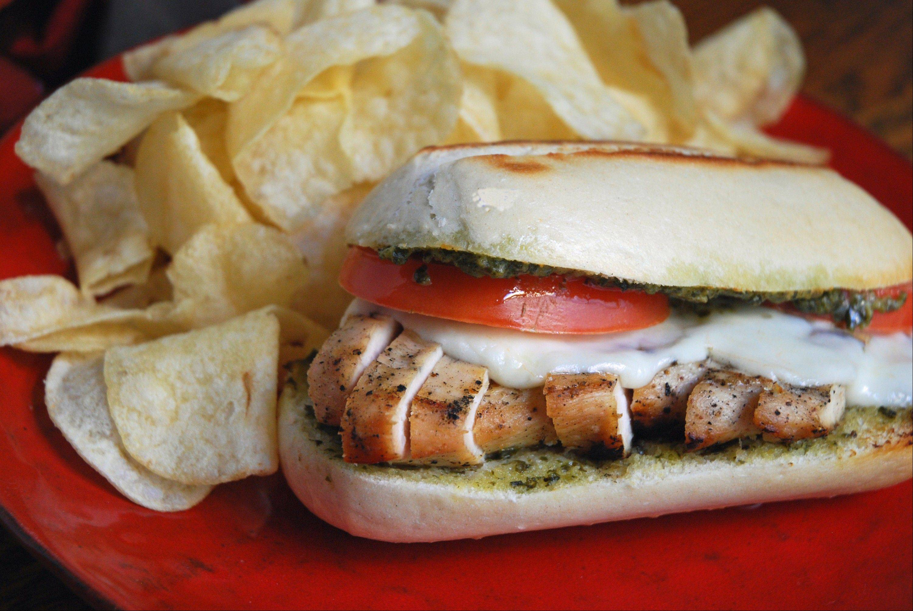 "Fresh-baked bread takes this Chicken ""Caprese"" Sub to a whole new level."