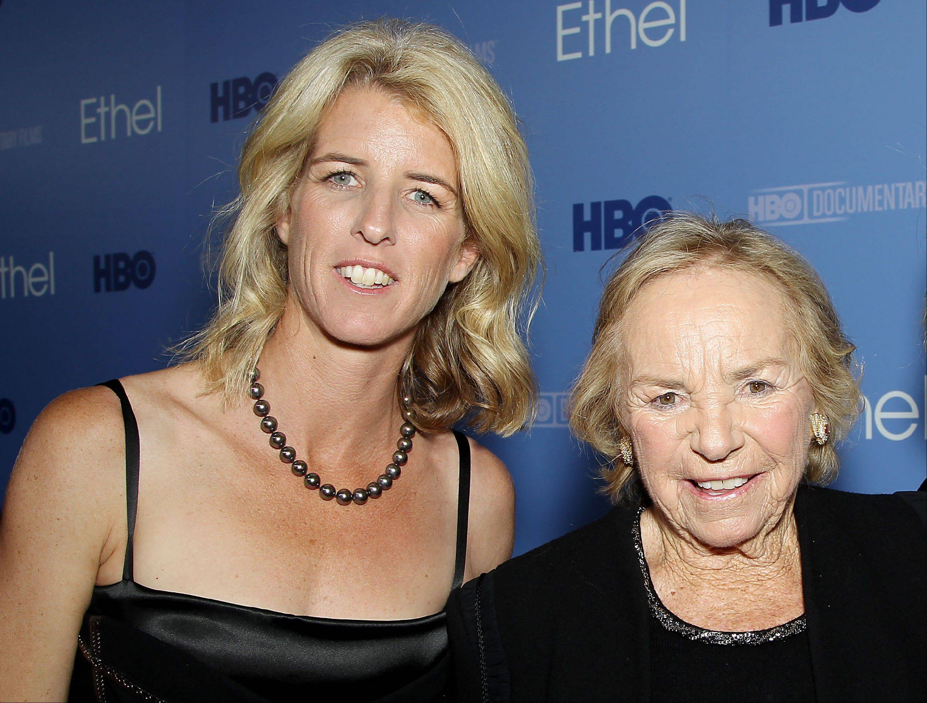 "Filmmaker Rory Kennedy, left, and Ethel Kennedy at the premiere for the documentary, ""Ethel: A First-Hand Look Inside The Kennedy Family,"" in New York. The film, about Ethel Kennedy, wife of the late Robert F. Kennedy, debuts on HBO."