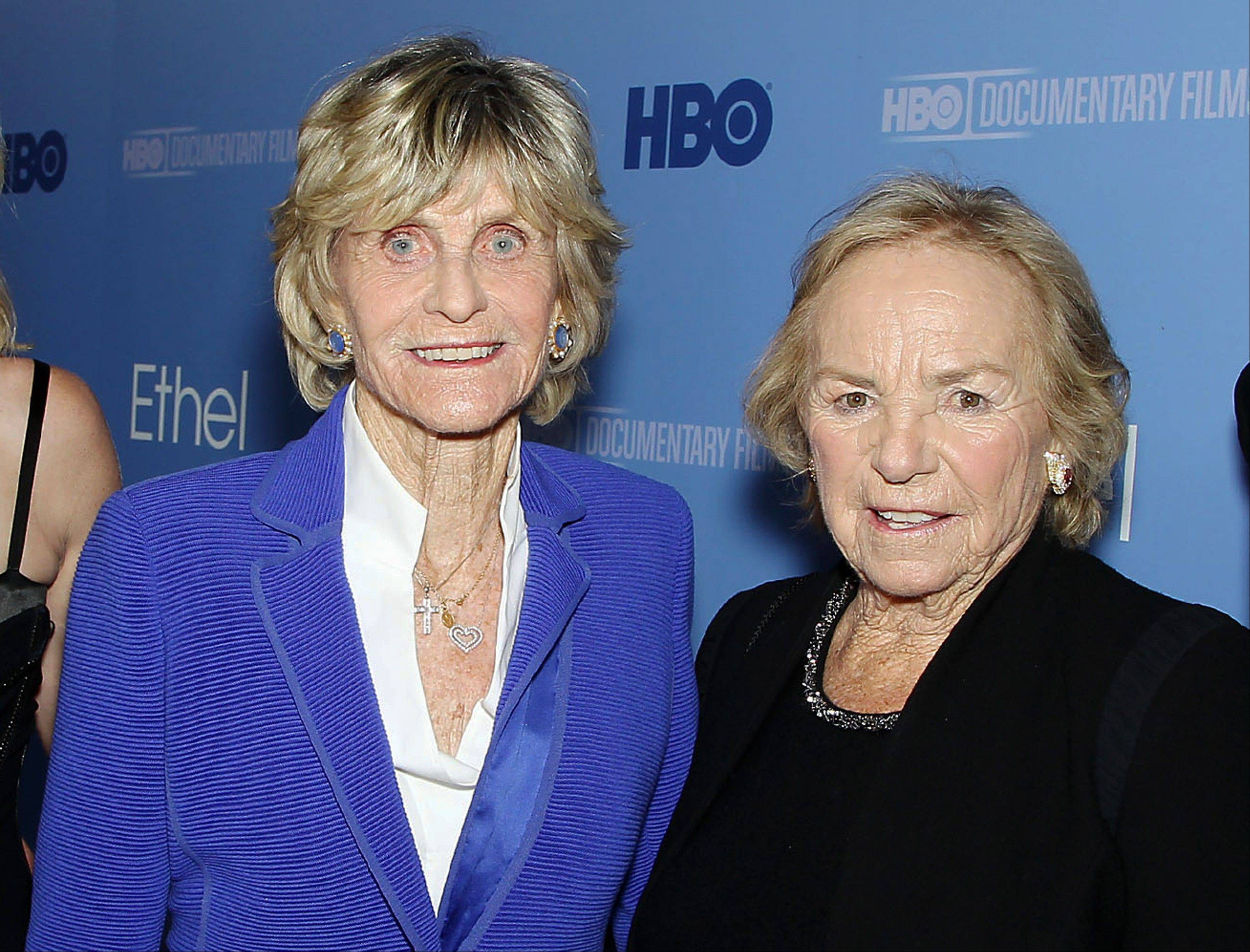 "Jean Kennedy-Smith, left, and Ethel Kennedy at the premiere for the documentary, ""Ethel: A First-Hand Look Inside The Kennedy Family,"" in New York. The film, about Ethel Kennedy, wife of the late Robert F. Kennedy, debuts on HBO."