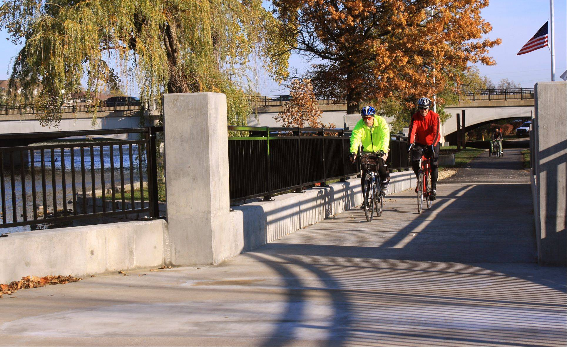 Bicyclists and pedestrians will have more room to pass on the north bridge at Island Park in Geneva, as the new bridge is several feet wider than the old.