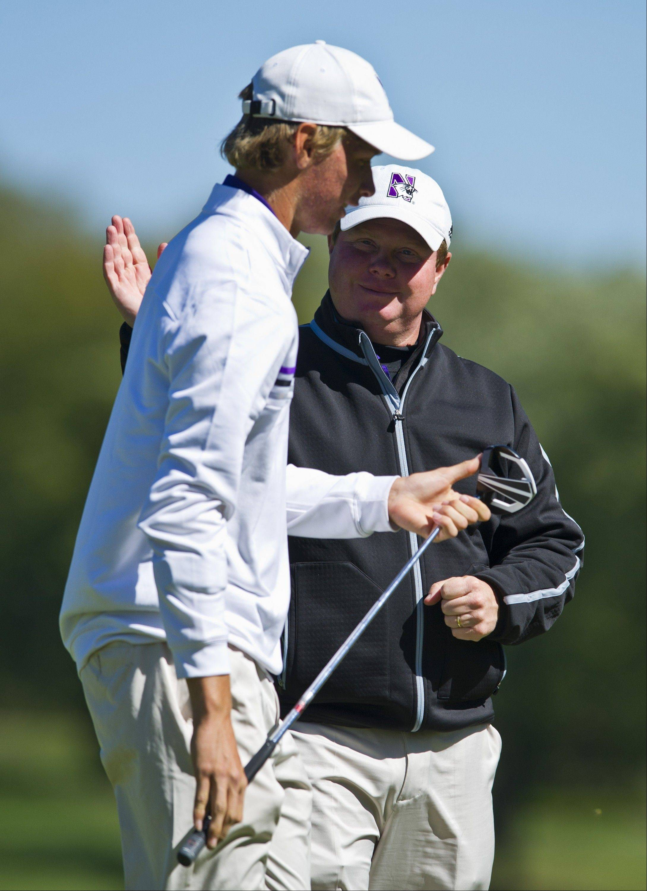 Northwestern men's golf coach Pat Goss, right, has been presented the Labron Harris Sr. Award, a national honor in cooperation with The PGA of America and the Golf Coaches Association of America.