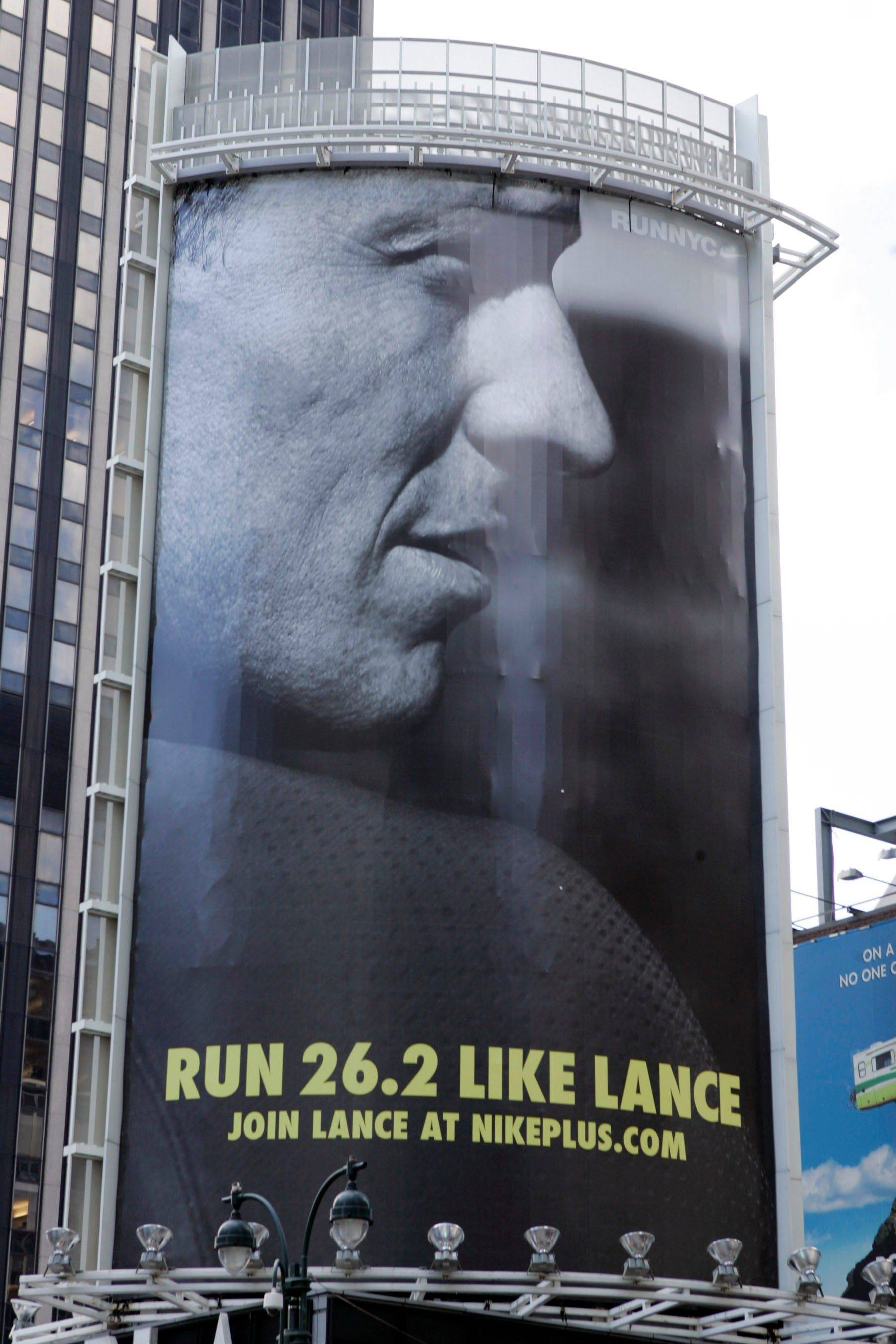 In an 80-foot billboard in Manhattan, Lance Armstrong and Nike challenged New Yorkers to �Run Like Lance� in 2006. Nike on Wednesday severed ties with Armstrong.