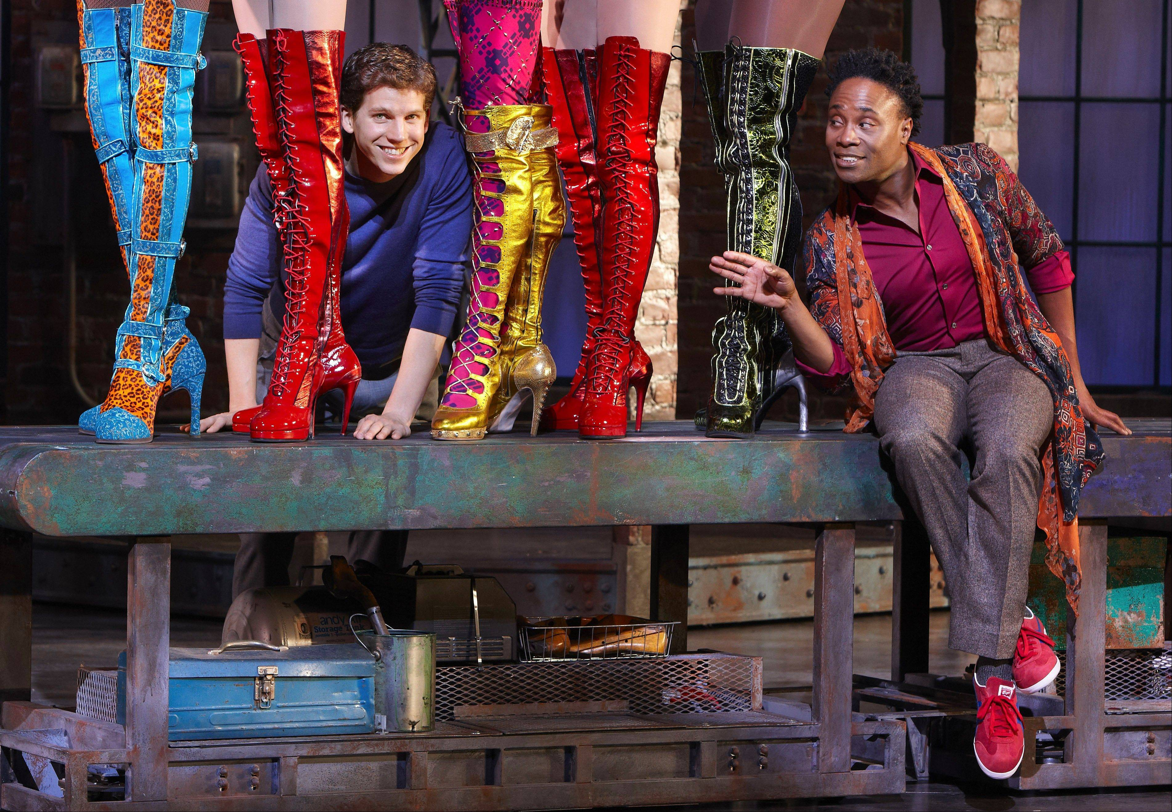 "Charlie (Stark Sands) and Lola (Billy Porter) proudly flaunt a new factory line of ""Kinky Boots"" in the Broadway-bound world premiere musical ""Kinky Boots"" at the Bank of America Theatre in Chicago."