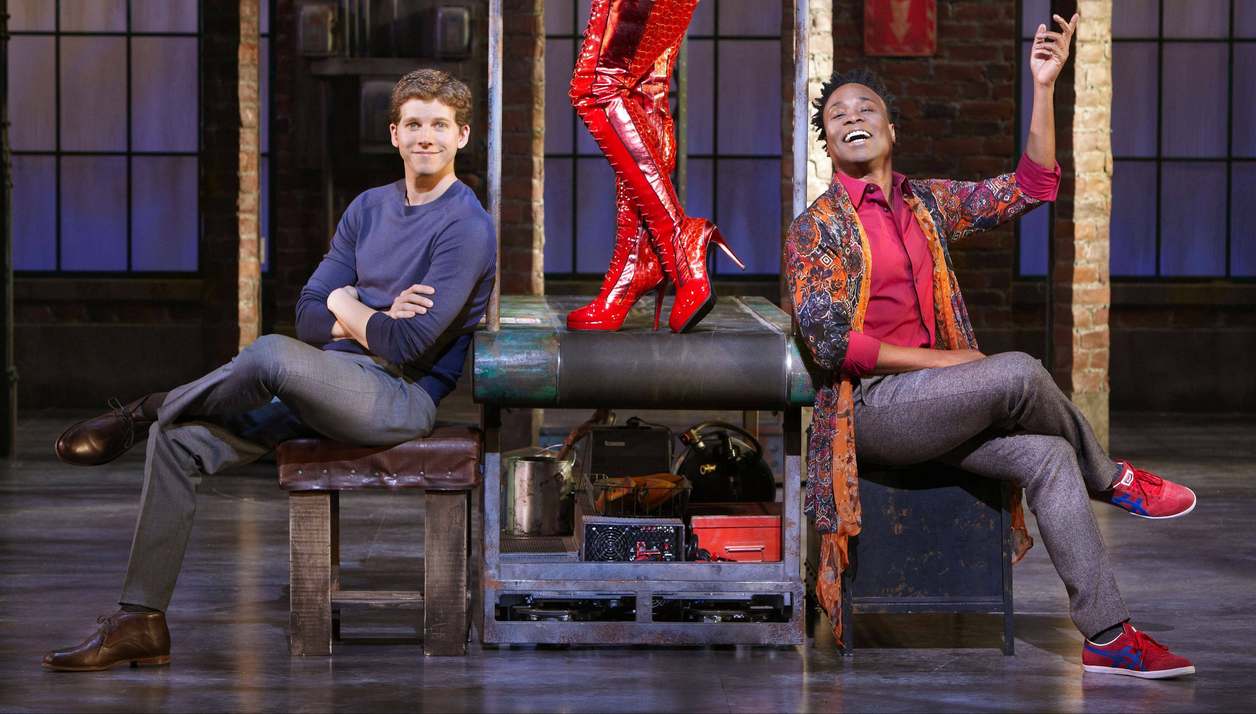 "Charlie (Stark Sands) and Lola (Billy Porter) pose with a new pair of ""Kinky Boots"" in the Broadway-bound world premiere musical at the Bank of America Theatre in Chicago."