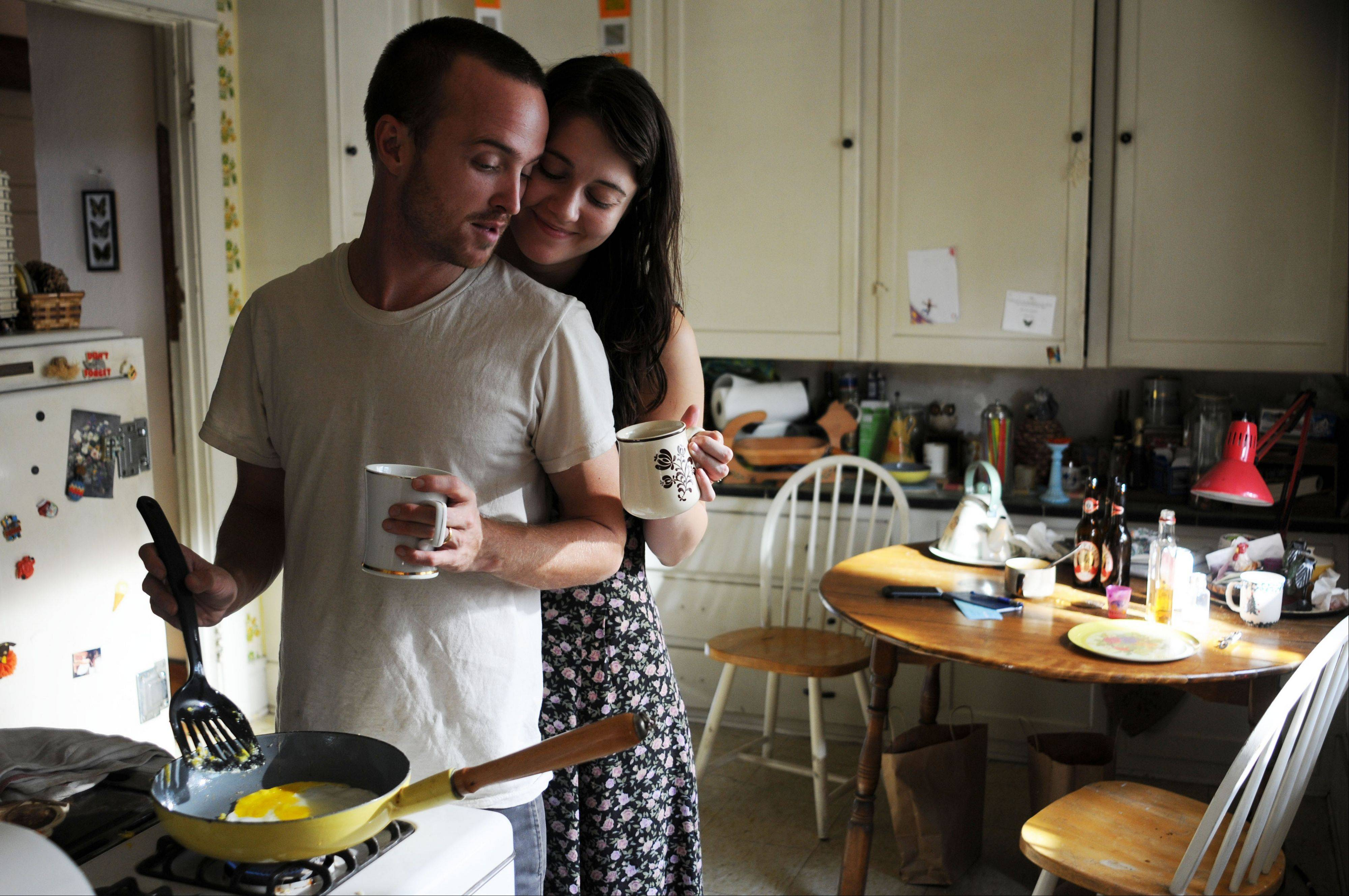 "The relationship between Charlie (Aaron Paul) and Kate Hannah (Mary Elizabeth Winstead) changes when she quits drinking in ""Smashed."""