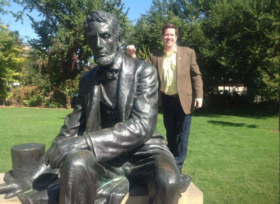 On his epic quest to each capitol, Mickey Straub finds this larger-than-life statue of Abraham Lincoln in Boise, Idaho.