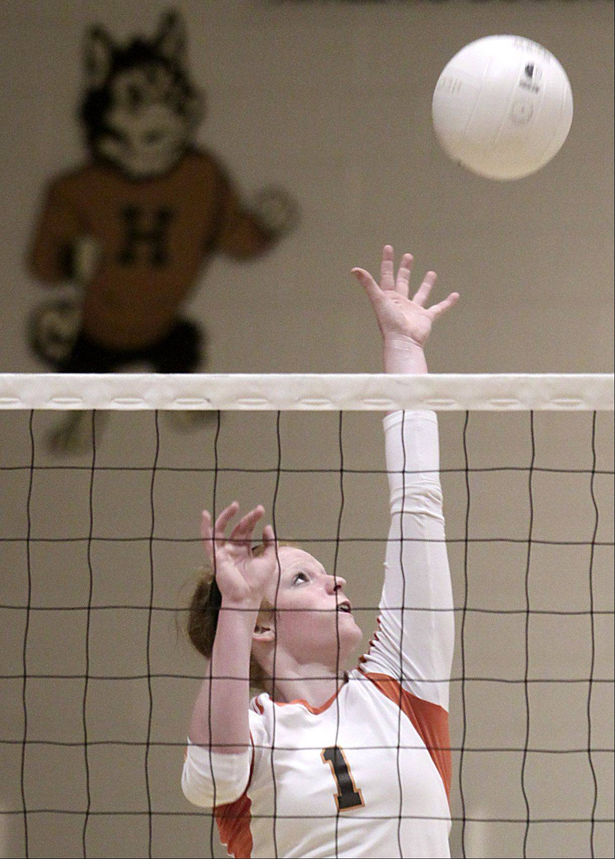 Hersey's Abby Fesl plays against Palatine during the Mid-Suburban League championship volleyball game in Arlington Heights on Thursday night.