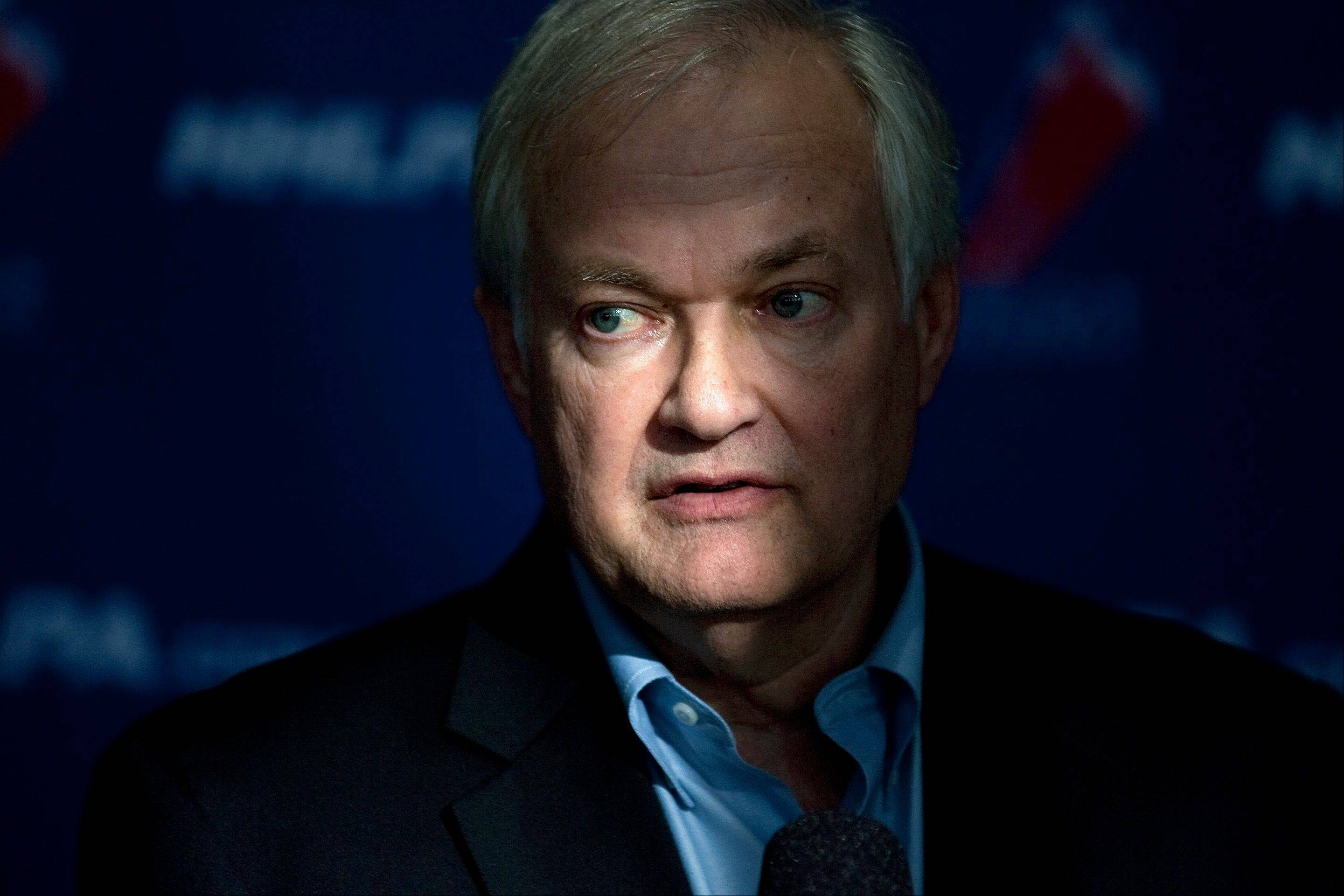 NHL players' association head Donald Fehr speaks to reporters following collective bargaining talks in Toronto on Tuesday, Oct. 16, 2012.