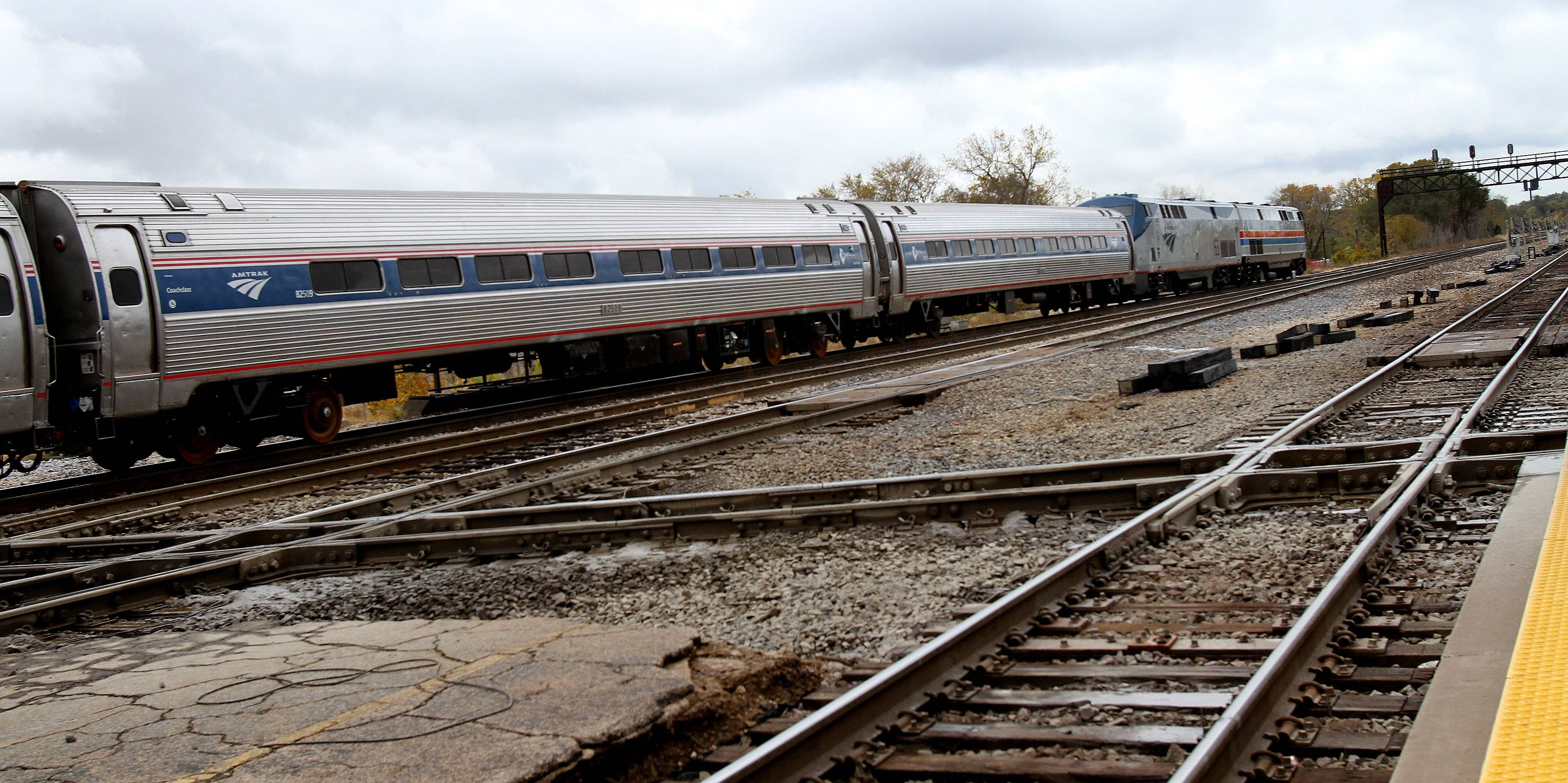 A high-speed train leaves the Joliet train station bound for Normal on Friday. A planned high-speed rail route between Chicago and St. Louis will be the first in the midwest.