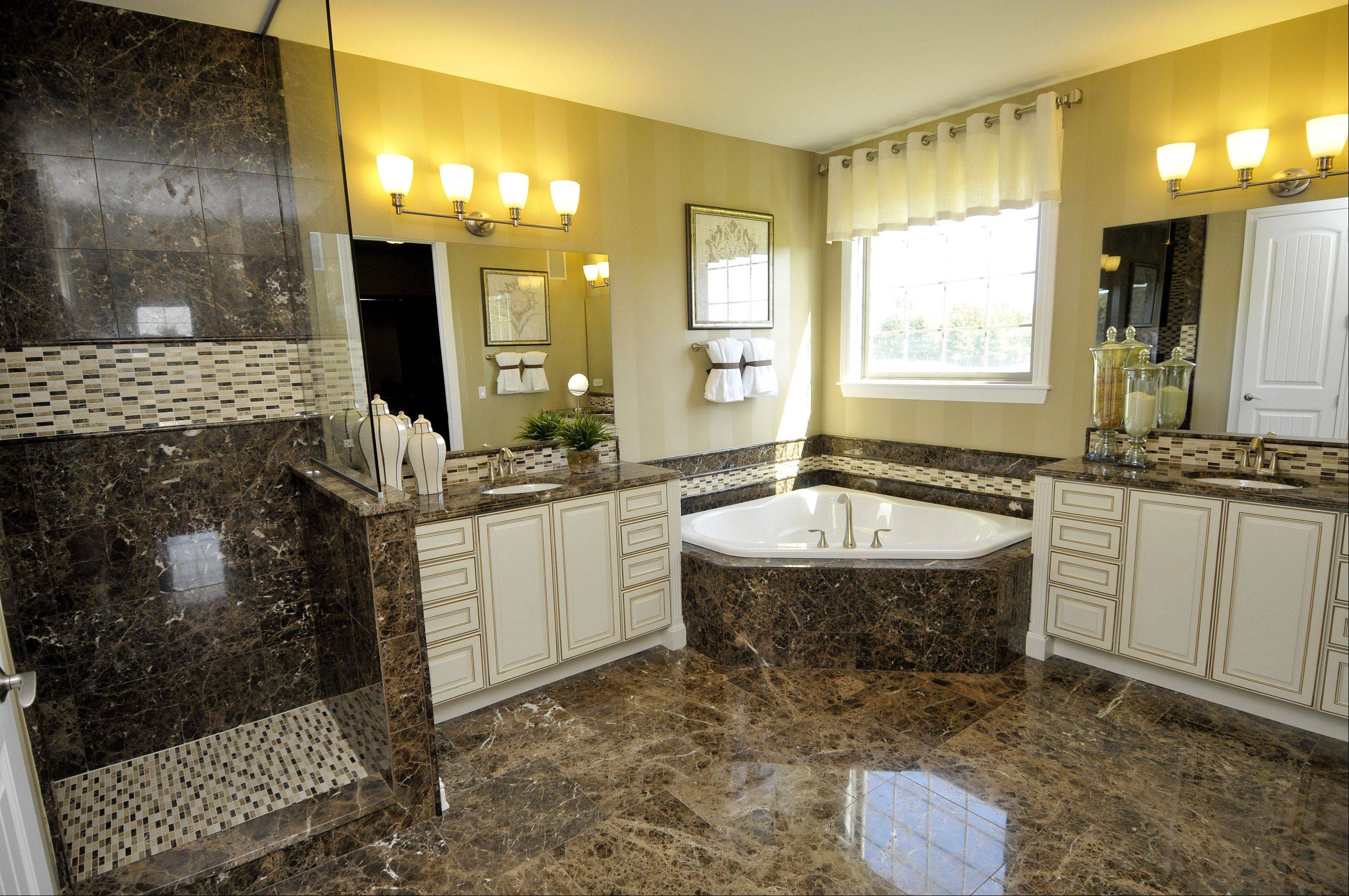 The first-floor master bathroom has a corner soaking tub and a walk-in shower with ceramic tile surround.