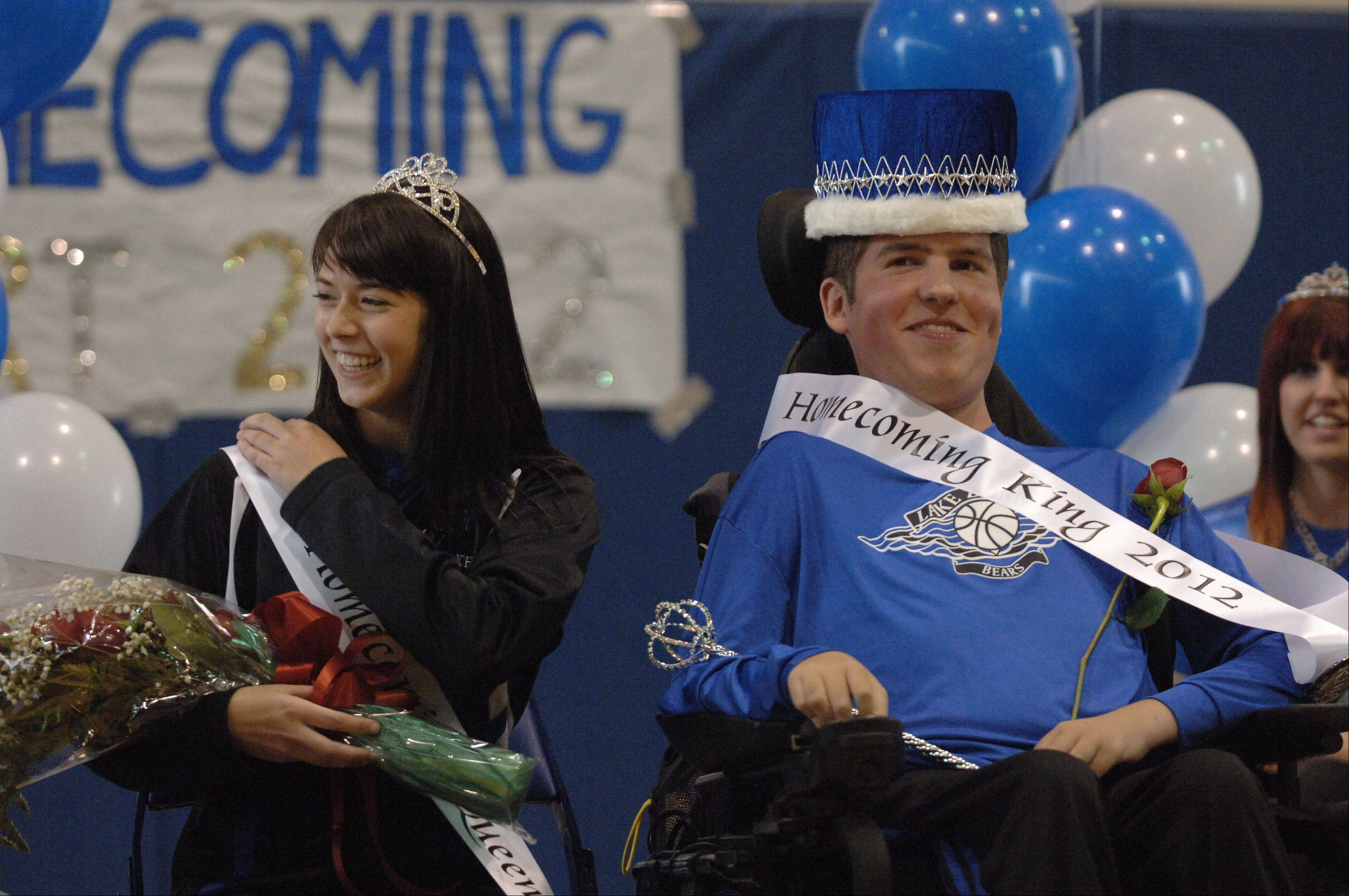Rachel Spatz and Casey Scott were crowned as homecoming queen and king at Lake Zurich High School's homecoming pep assembly.