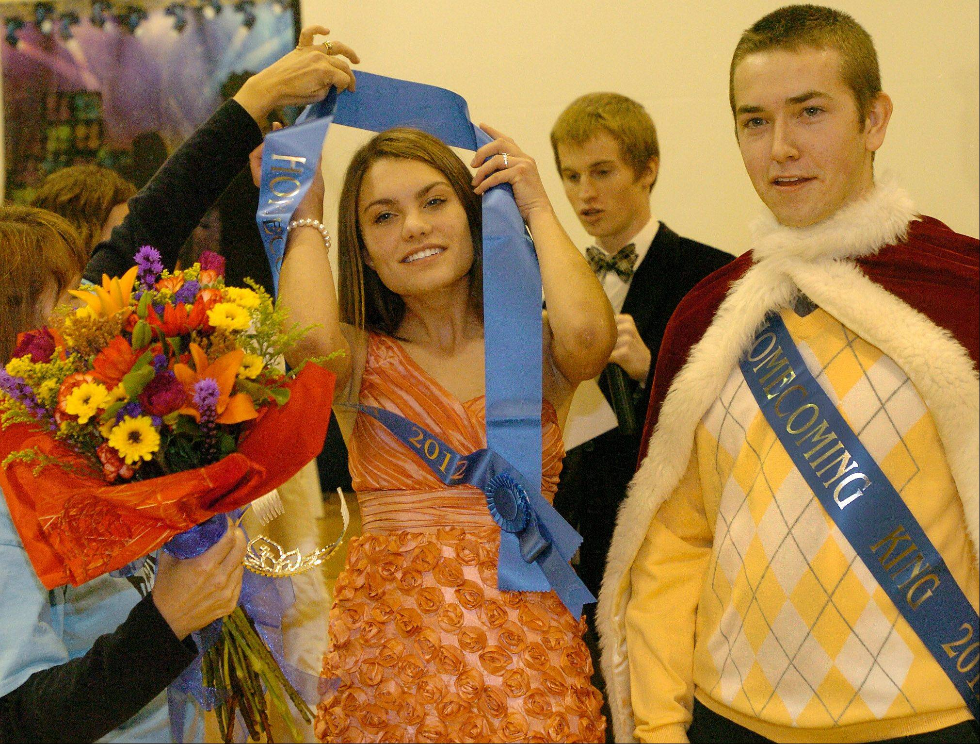 Emma Hogaboom and Tommy Sullivan are crowned King and Queen during St. Viator's Homecoming Pep Rally.