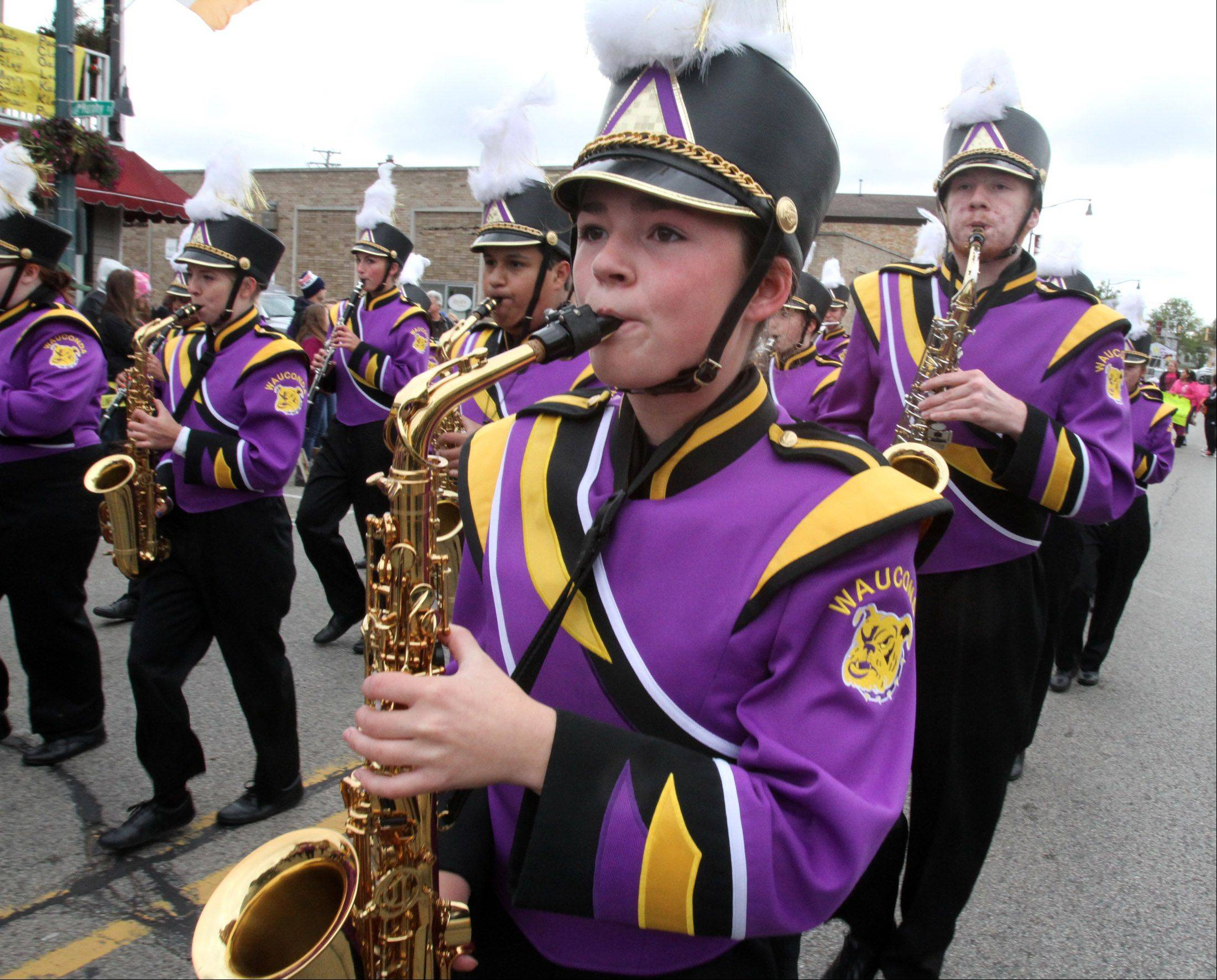 Wauconda High School's band marches in their Homecoming parade.