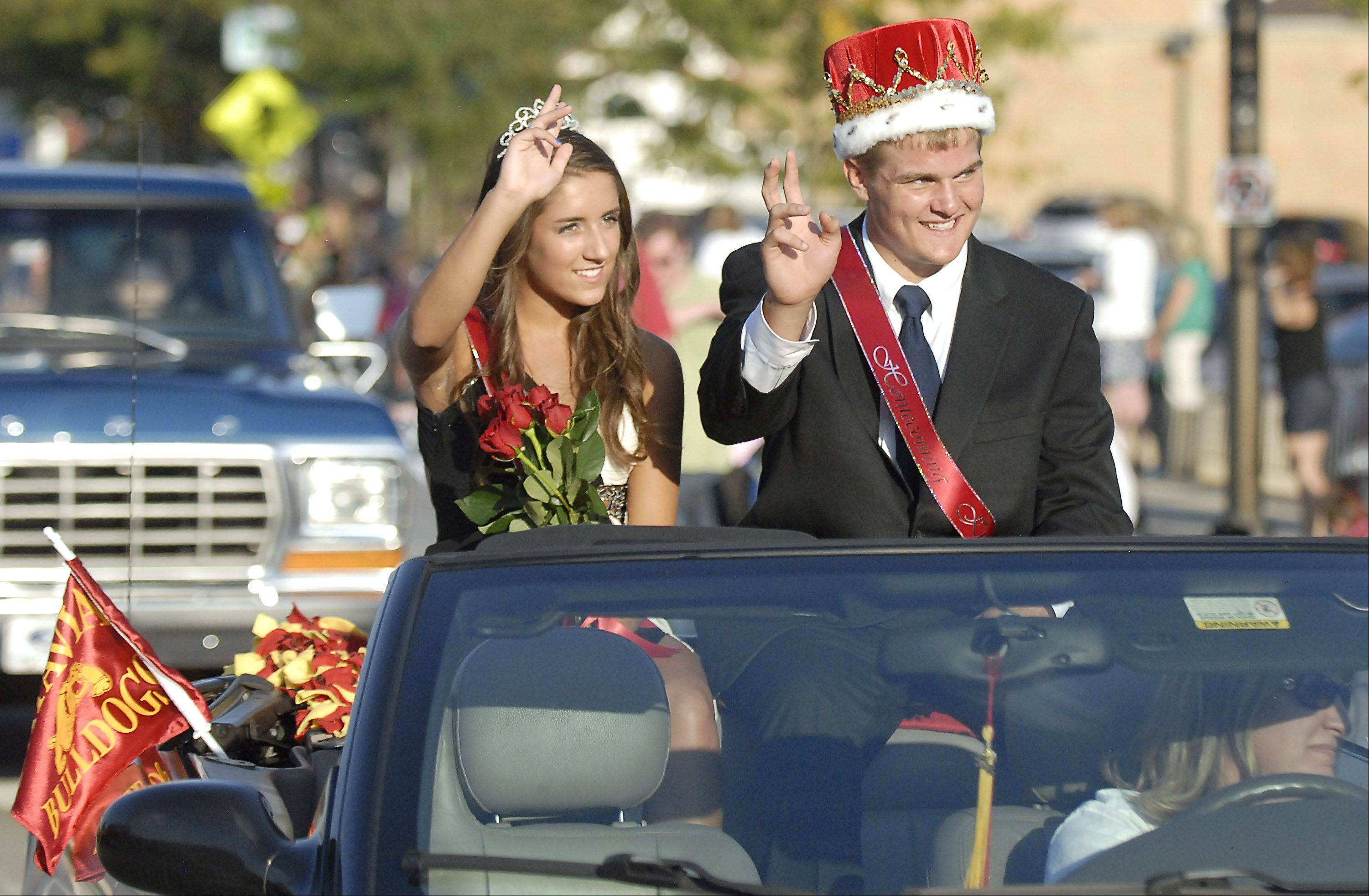 Batavia High School's Homecoming Queen Shannon McGee and King Mickey Watson participate in the school's Homecoming parade.
