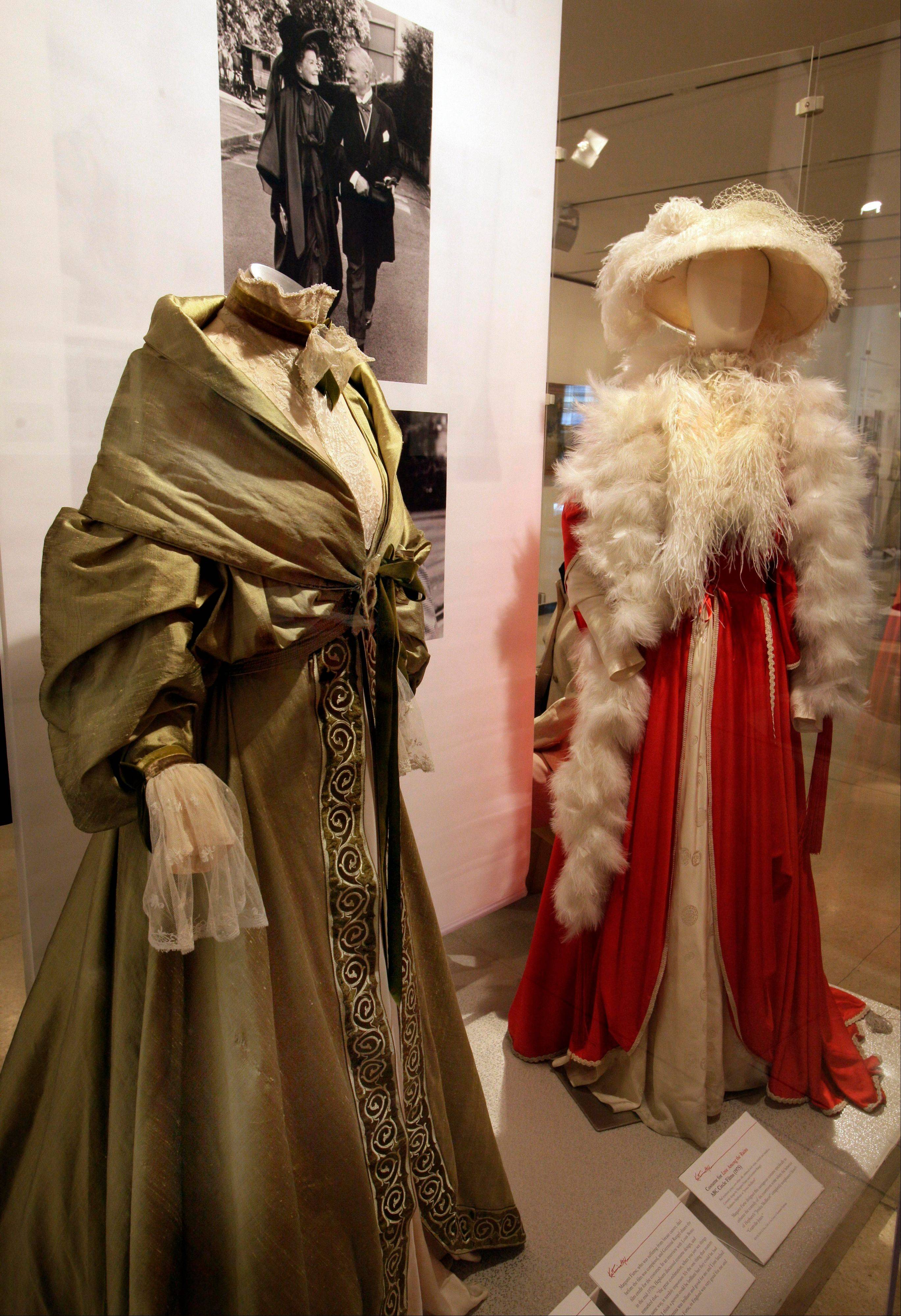 "Two designs by Margaret Furse and Germinal Rangel from the 1975 production of ""Love Among the Ruins"" are shown as part of the ""Katharine Hepburn: Dressed for Stage and Screen"" exhibit."