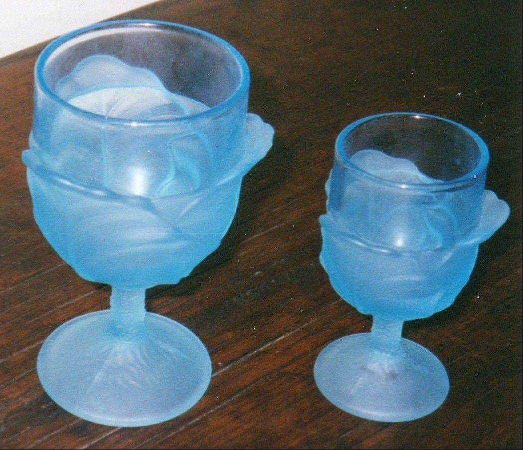 These two goblets are in the style of an old pressed-glass pattern.