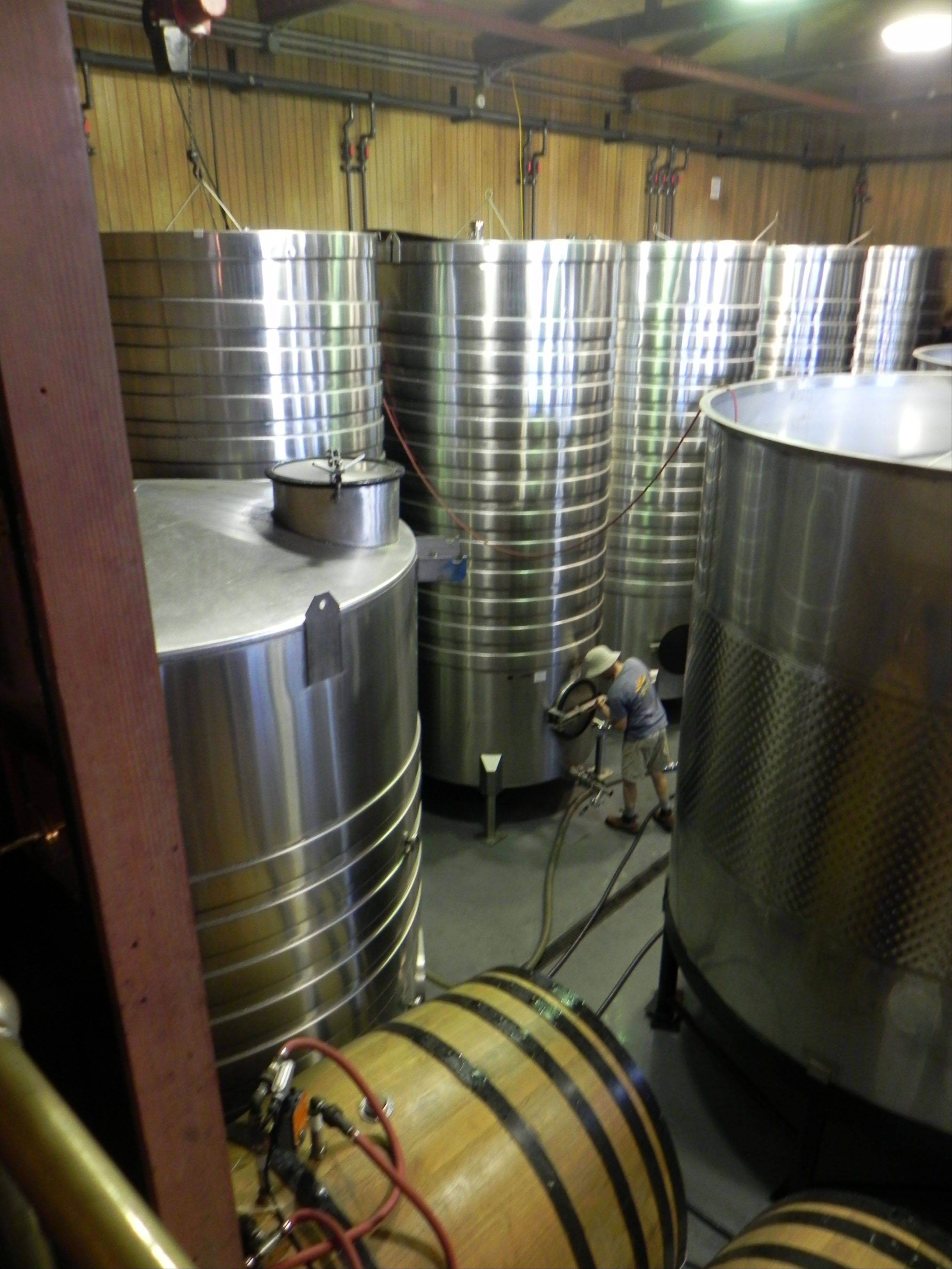 Fermenting vats await the 2012 harvest at Rex Hill winery near Newberg, Ore.