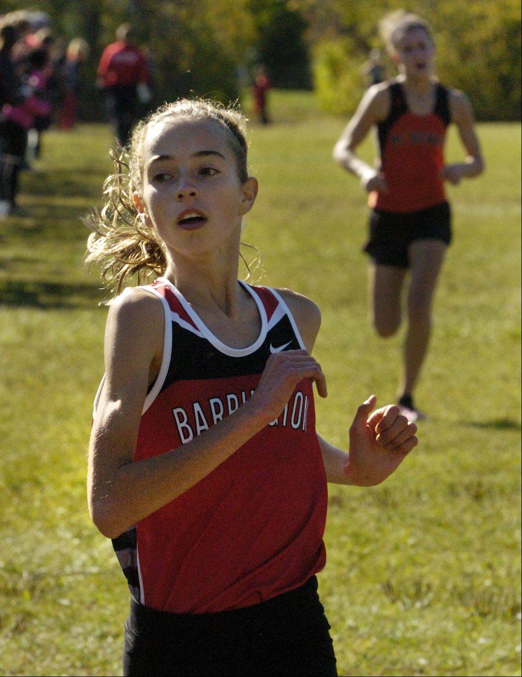 Barrington's Lauren Conroy finishing second in the Class 3A Grant cross country regional.