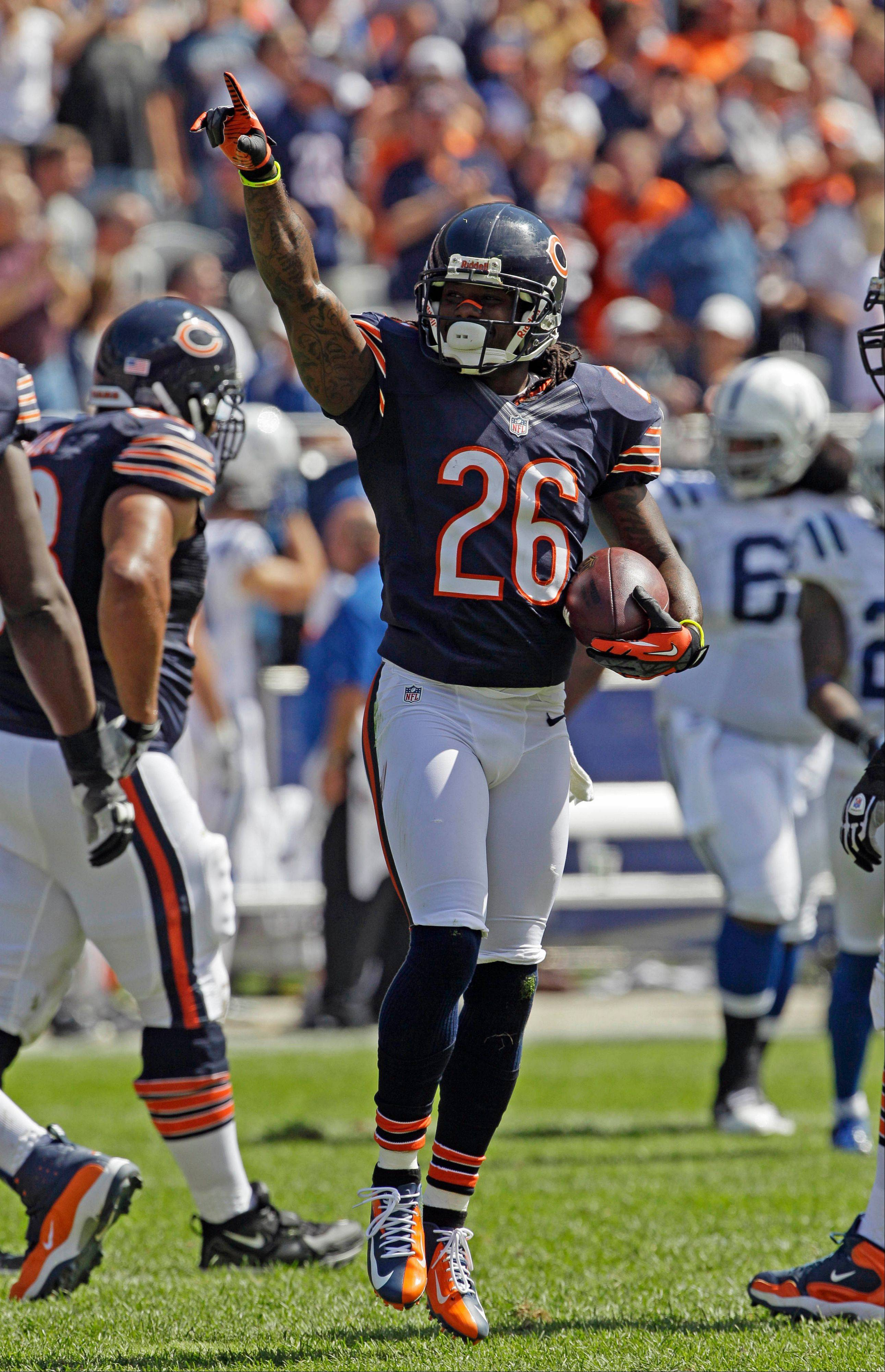 Tim Jennings celebrates after intercepting a pass against the Colts.