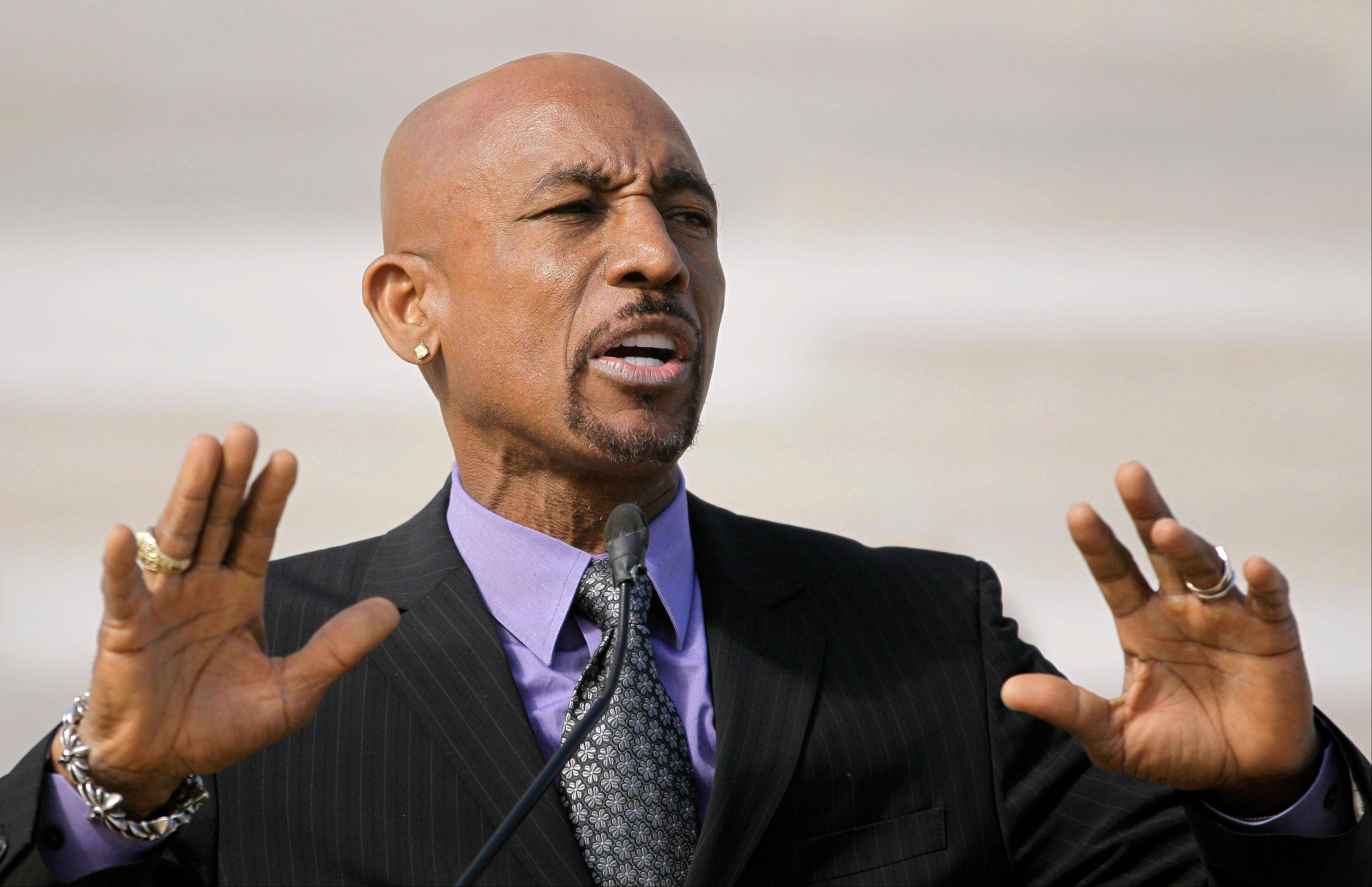Television personality Montel Williams speaks to supporters of a ballot measure that would legalize medical marijuana in Arkansas.