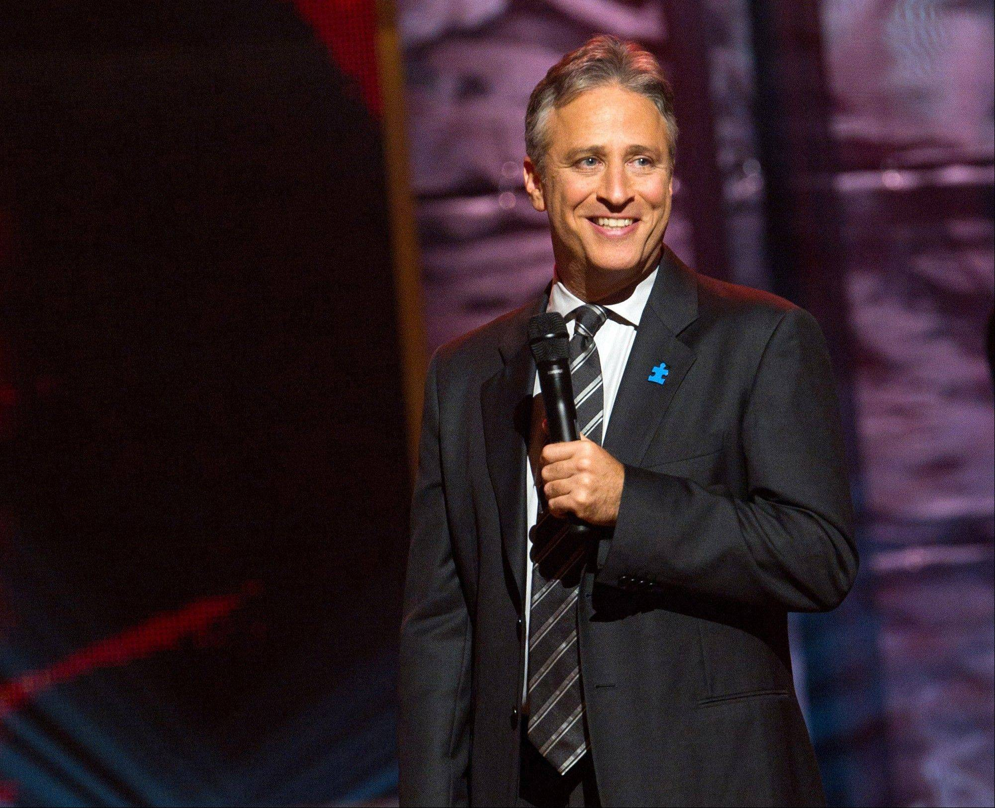 "Comedian and TV host Jon Stewart, shown onstage at Comedy Central's ""Night of Too Many Stars"" in 2010, hosted this year's program, which uses comedy to raise money for autism education programs. It will air at 7 p.m. Sunday on Comedy Central."