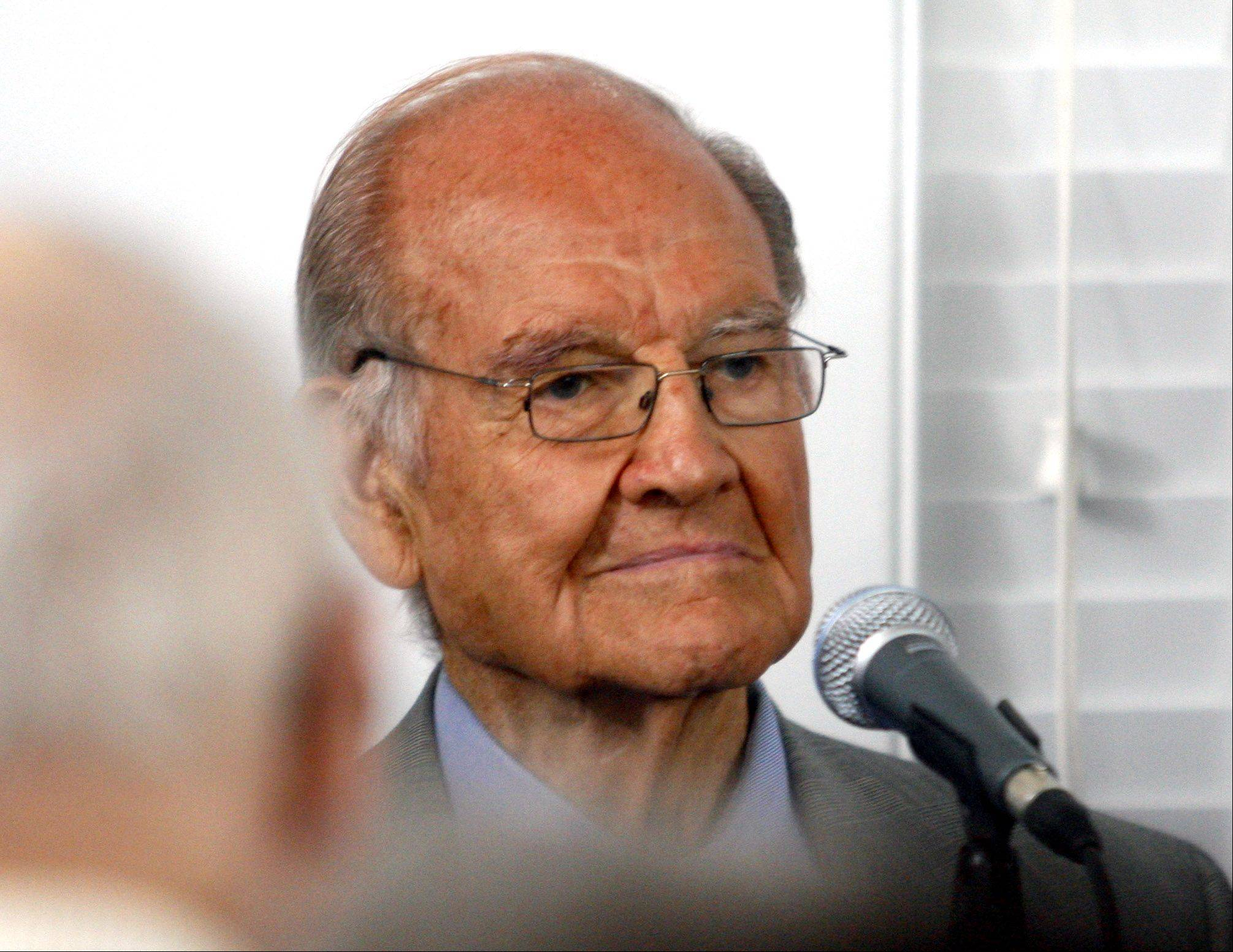 Former presidential candidate George McGovern serves as a panel member during a discussion titled �The American National Nominating Process-Then and Now� at the Adlai Stevenson Center on Democracy near Mettawa.